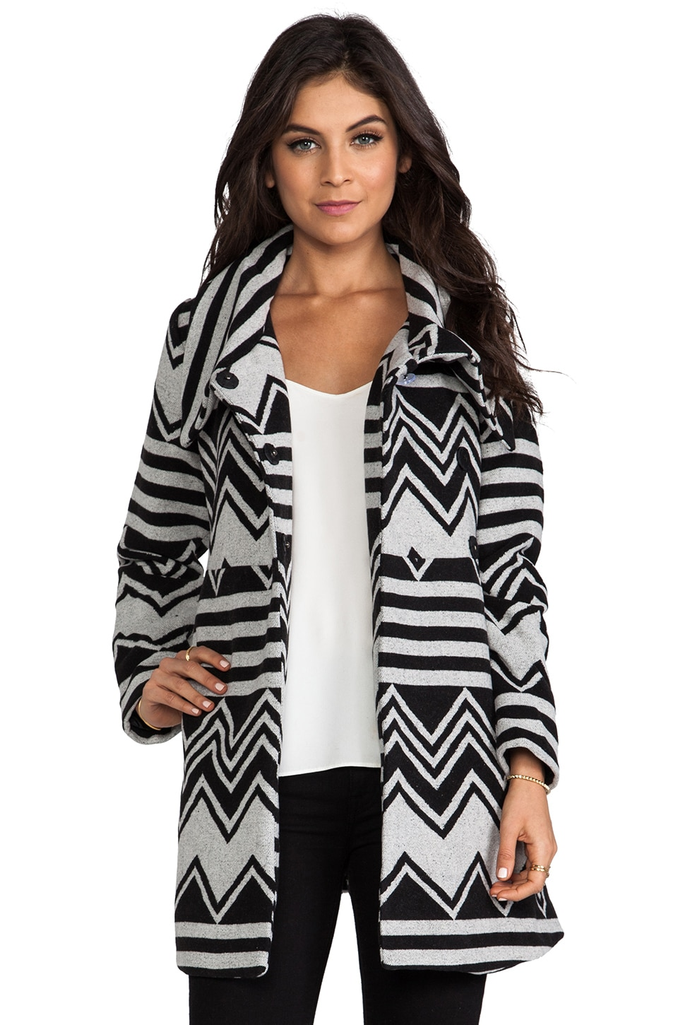 BB Dakota Emilia Charley Stripe Wool Blend Coat in Black/Ivory