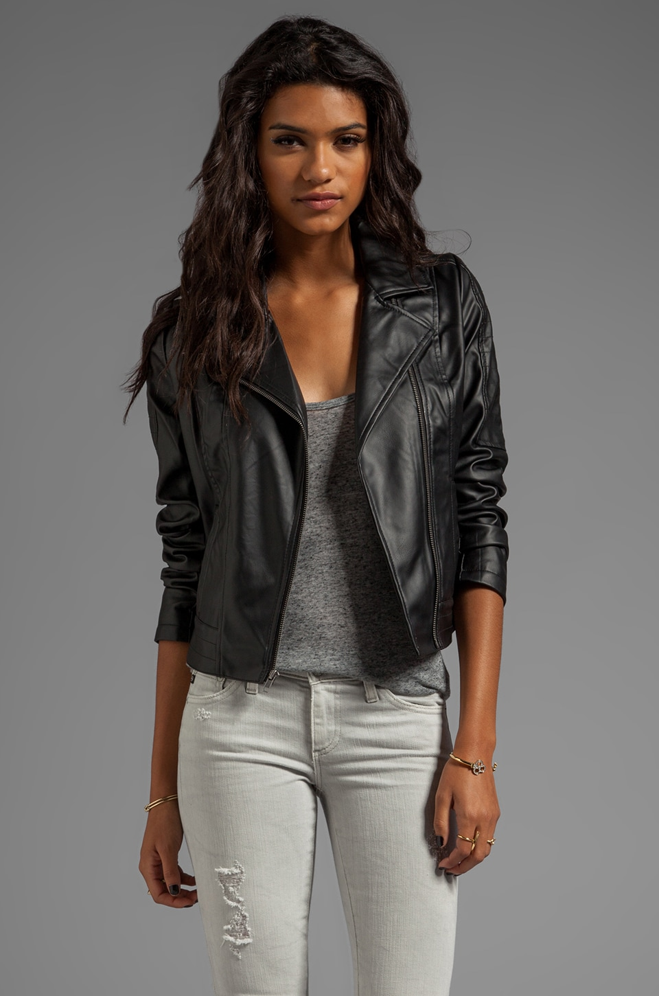 BB Dakota Estela 2 Tone PU Leather Jacket in Black
