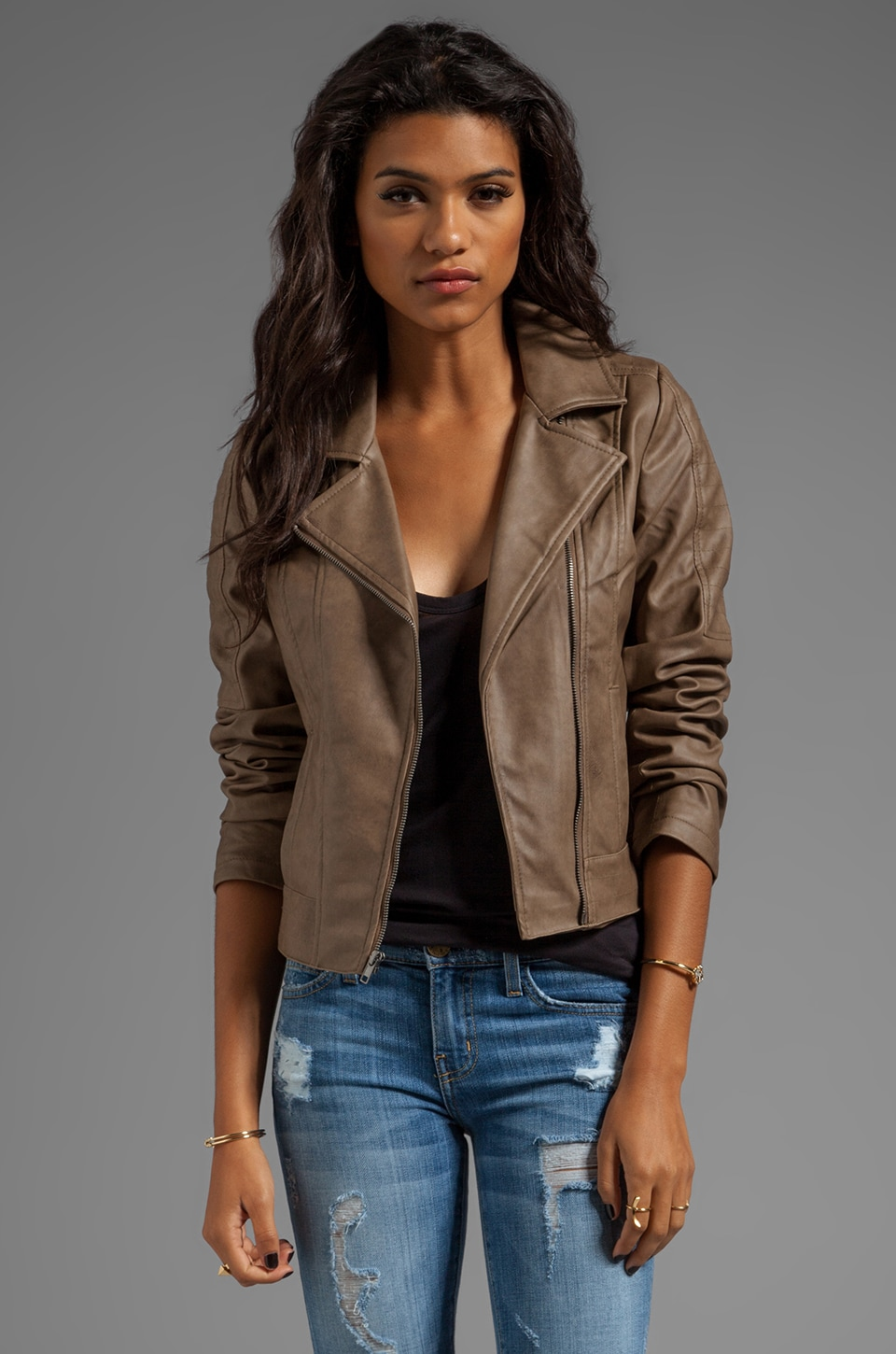 BB Dakota Estela 2 Tone PU Leather Jacket in Walnut