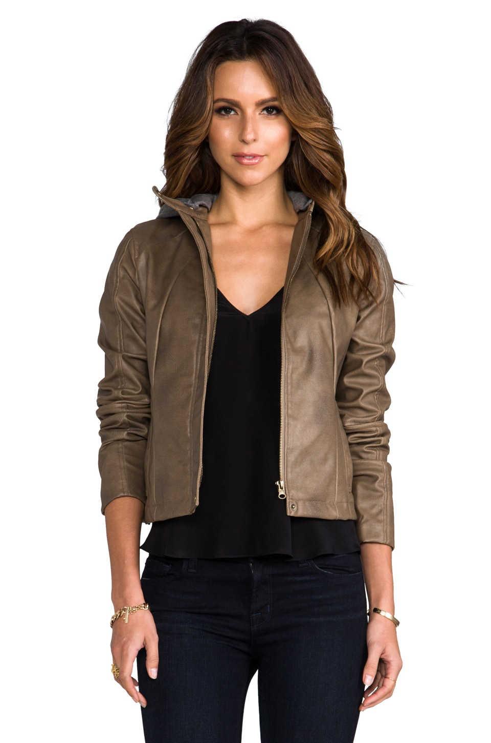 BB Dakota Kaia Hooded Faux Leather Jacket in Walnut