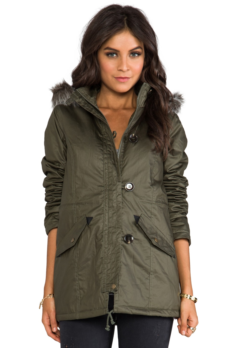 BB Dakota Haiden Long Coat w/ Faux Fur in Army Green