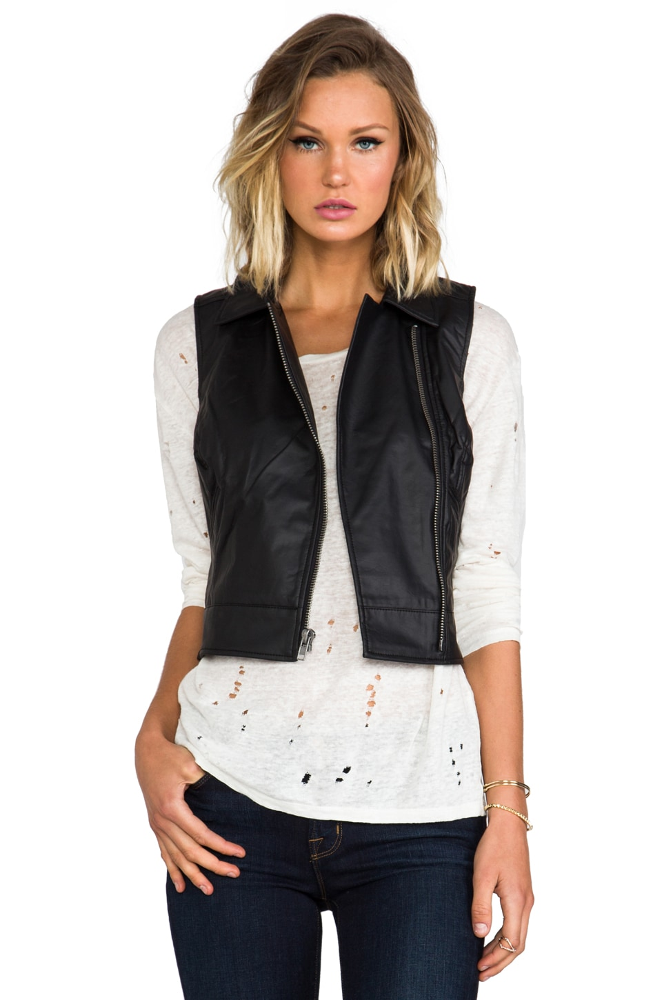 BB Dakota Virgo Textured Faux Leather Vest in Black