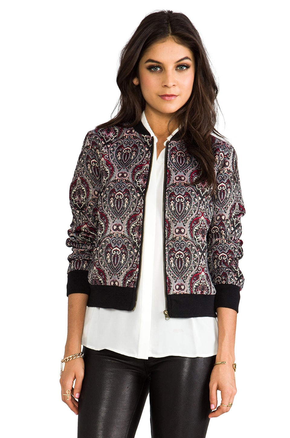 BB Dakota Jensen Paisley Lurex Brocade Bomber in Syrah Red