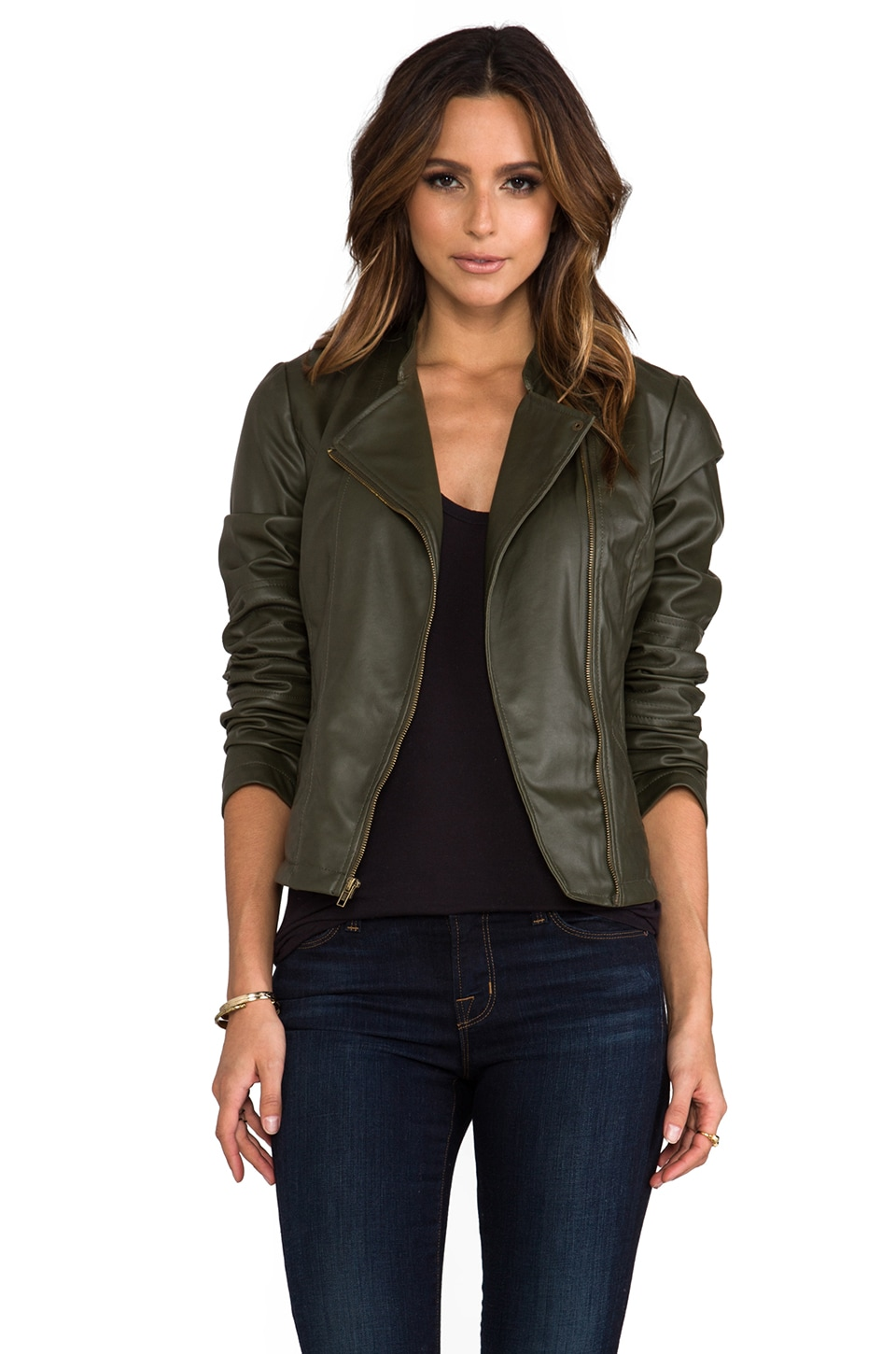 BB Dakota Harlet 2 Tone Washed Faux Leather Jacket in Army Green