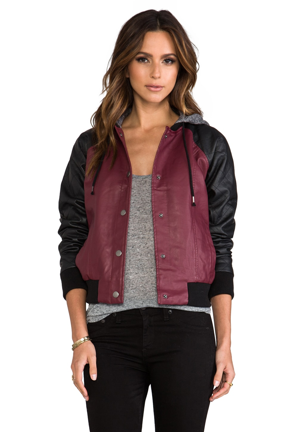 BB Dakota Tracie Quilted Faux Leather Hoody in Syrah Red