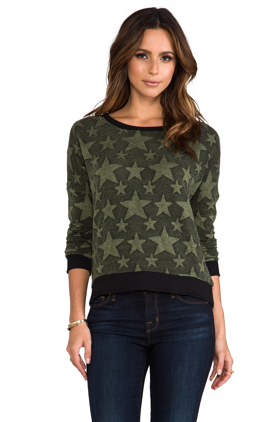 BB Dakota Washington Star Print Sweatshirt in Military Green