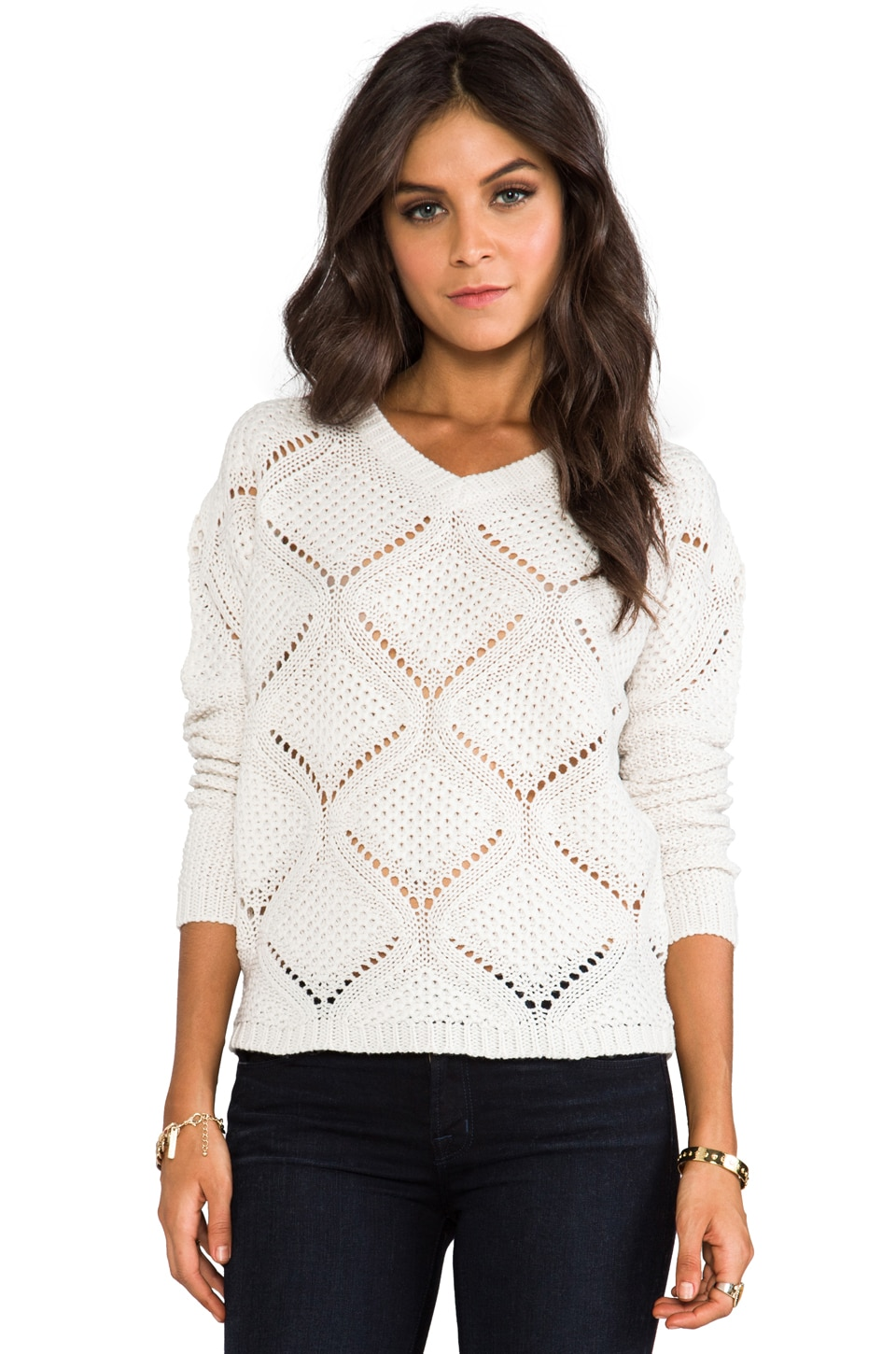 BB Dakota Cody Over Sized Cable Knit Pullover in Ivory
