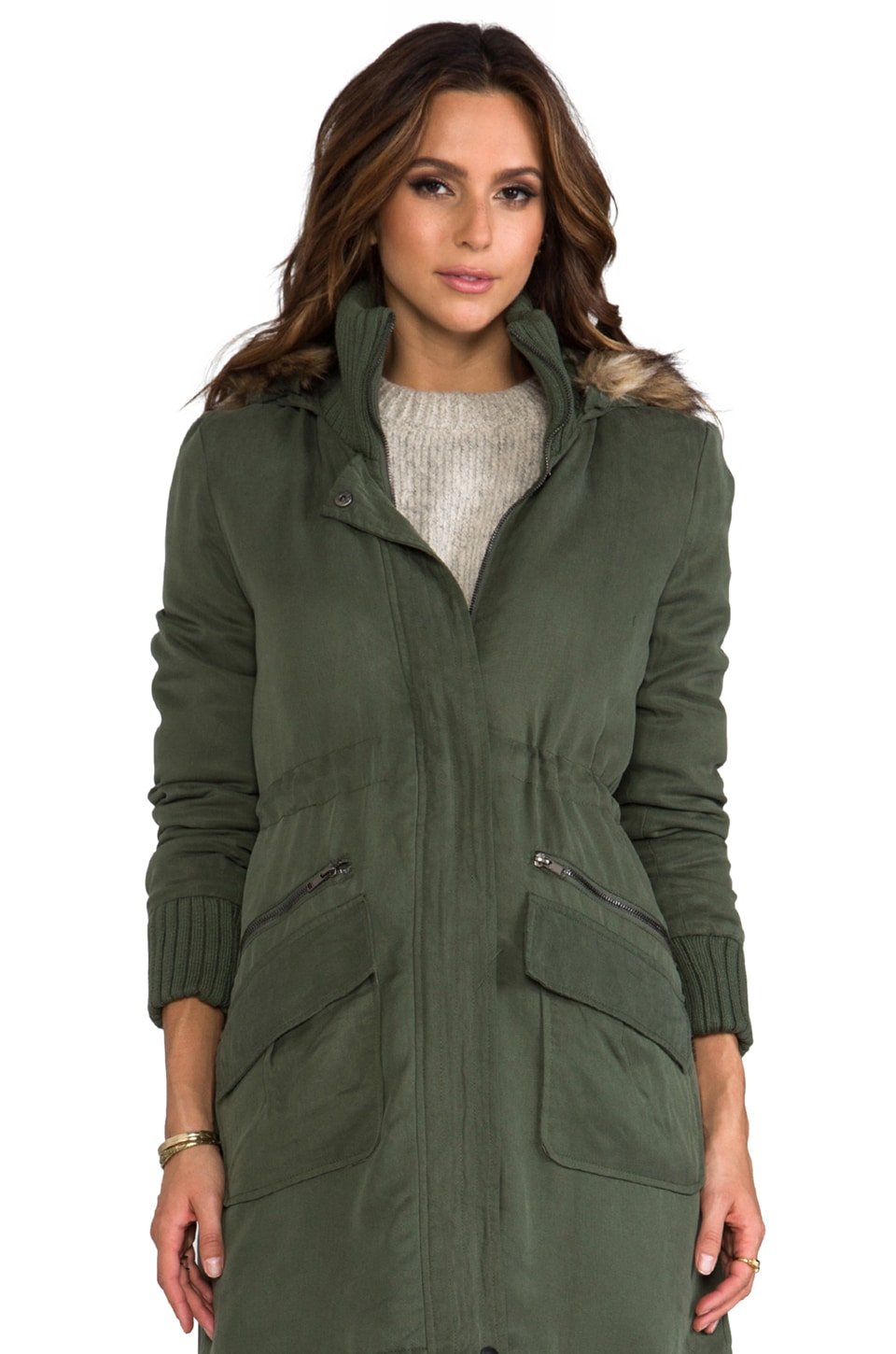 BB Dakota Abby Tencel Long Coat w/ Faux Fur Trim in Military Green