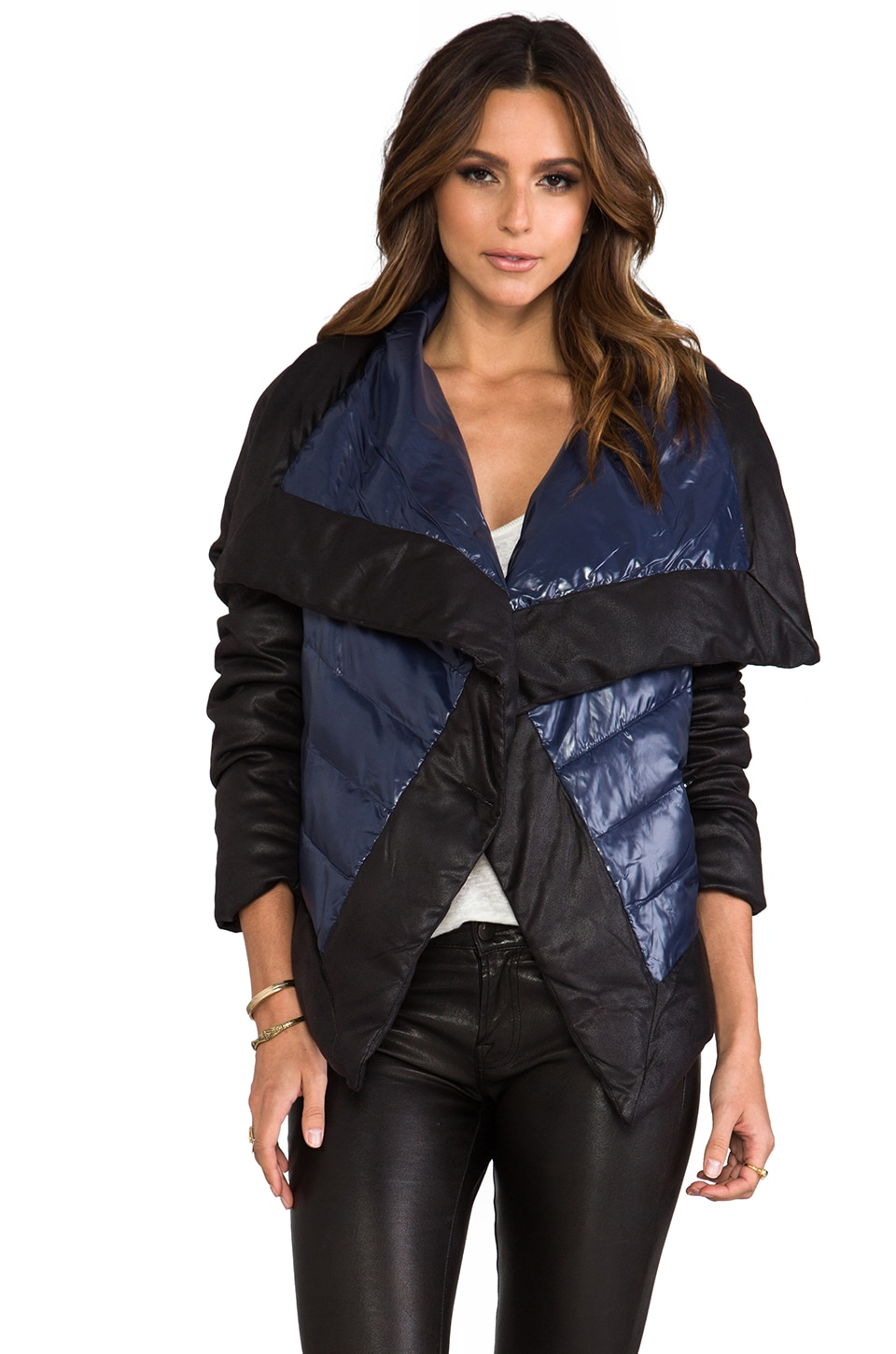BB Dakota Cecille Puffer Jacket w/ Faux Suede Trim in Caspian Blue
