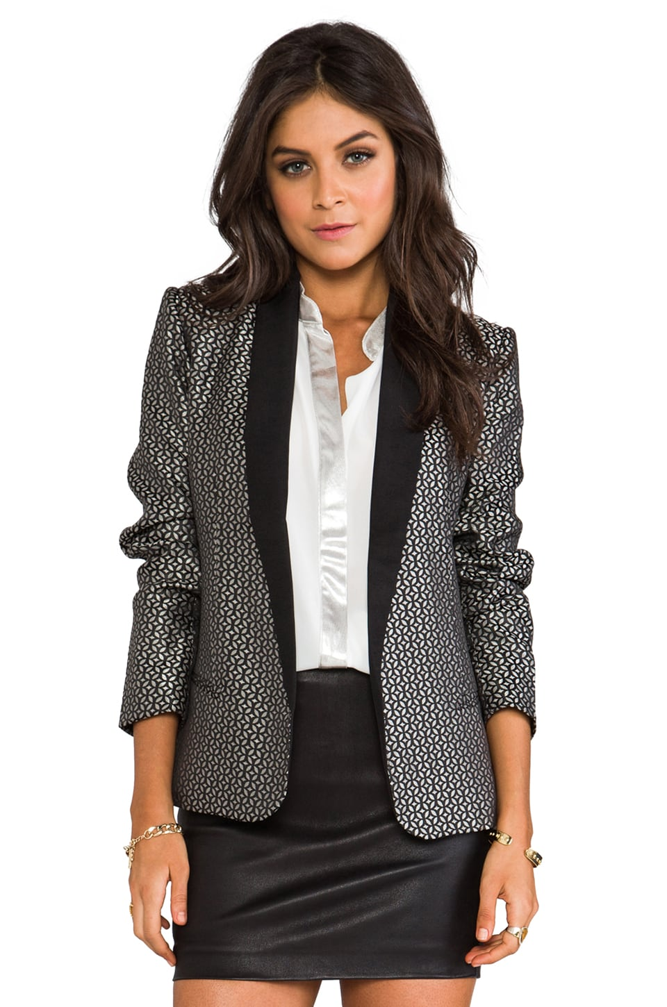 BB Dakota Harriet Jacquard Lapel Blazer in Black