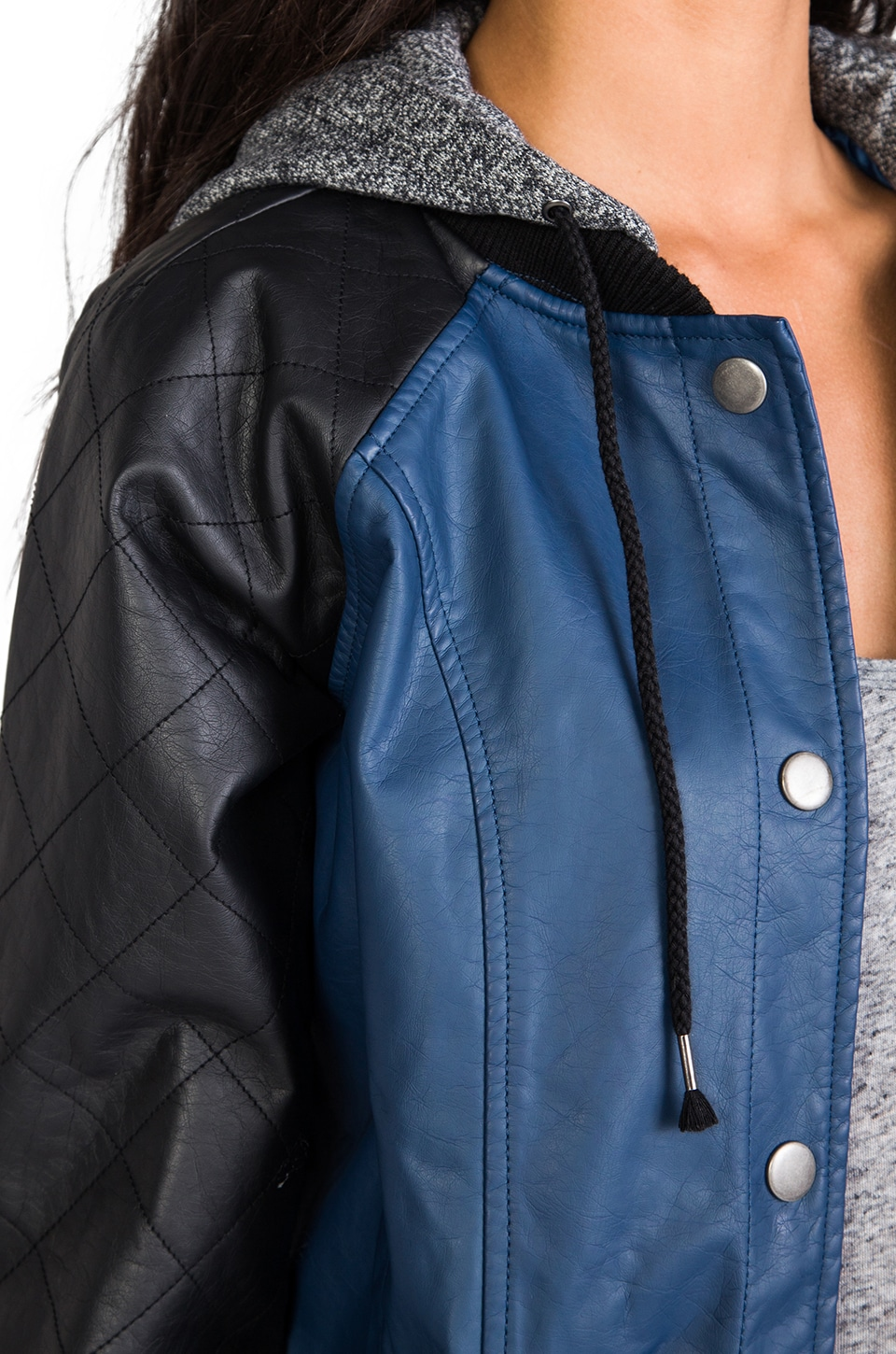 BB Dakota Cove Hoodie Bomber Jacket in Blue