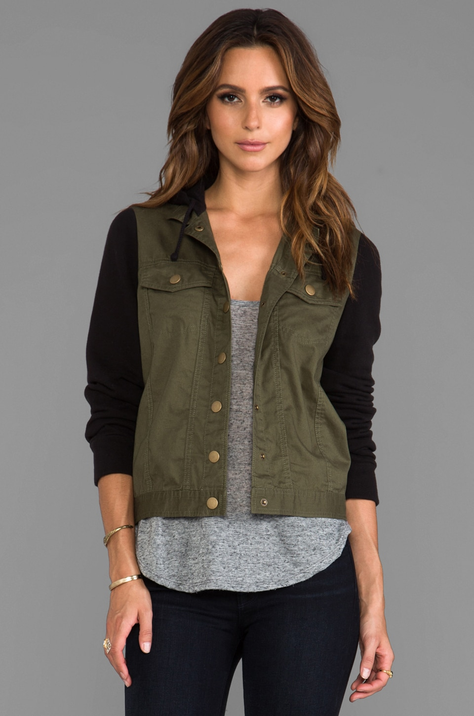 BB Dakota Wave Button Up Hoodie in Olive