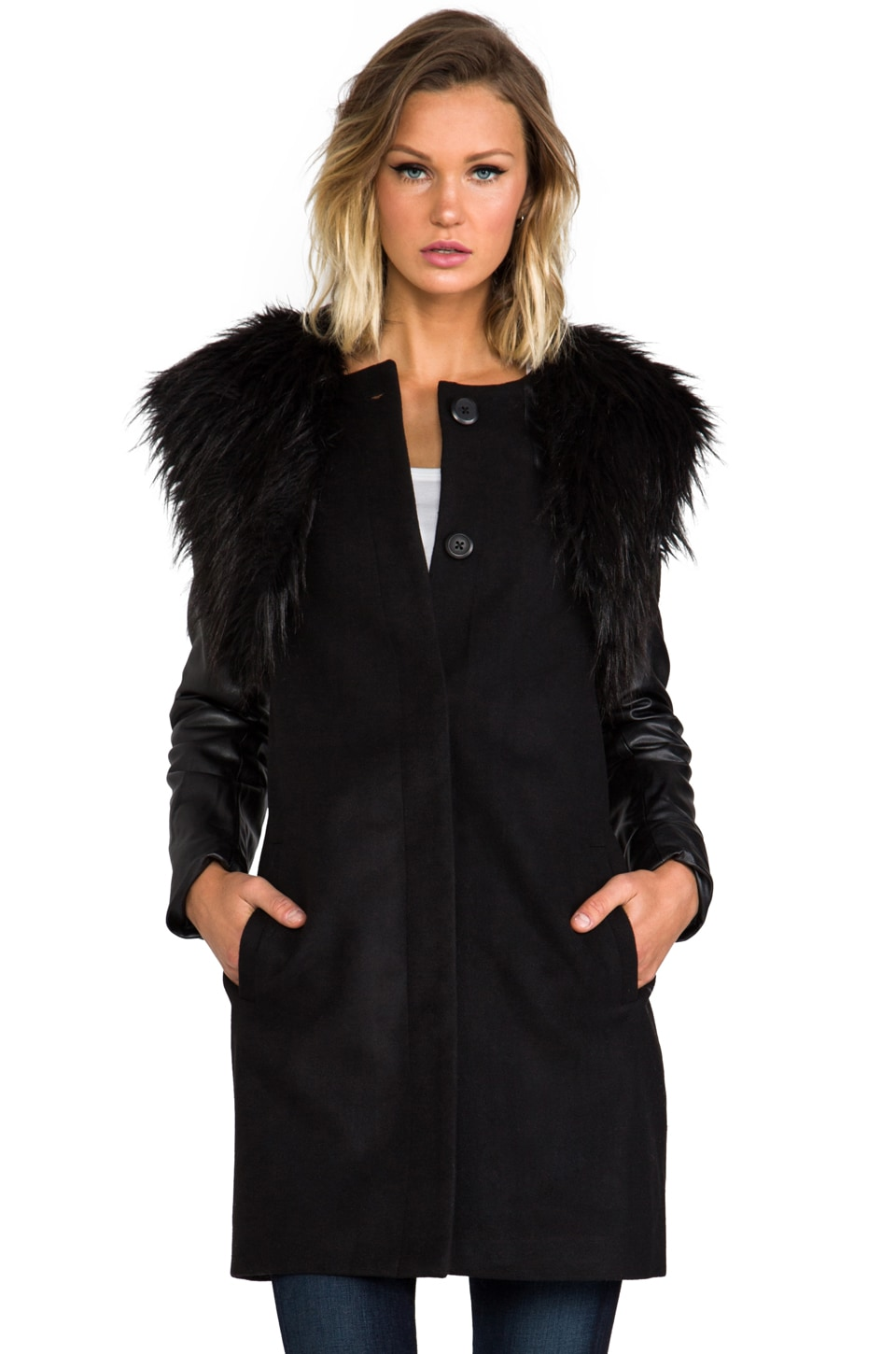 BB Dakota Cruz Melton Coat w/ Detachable Faux Fur Vest in Black