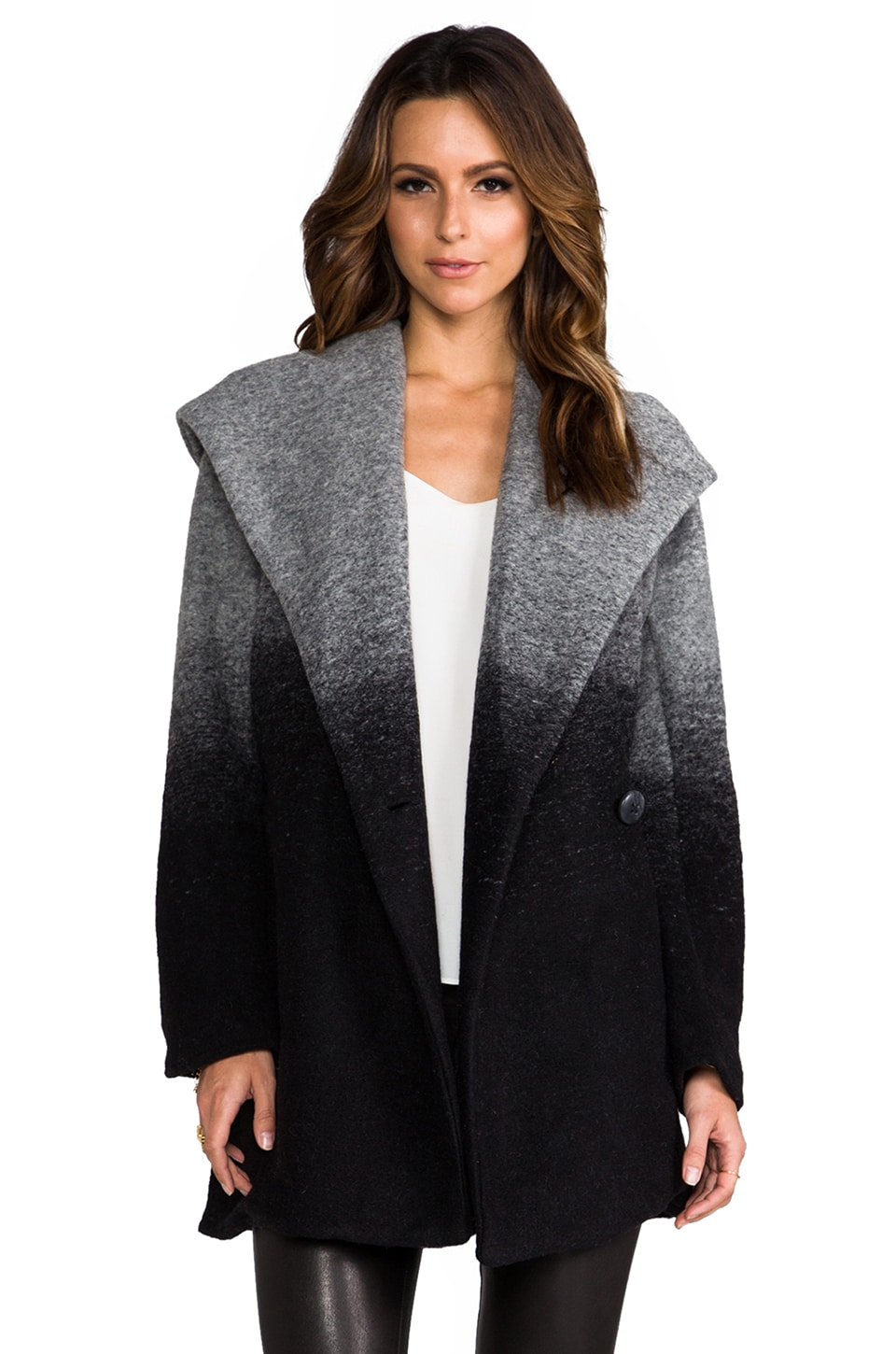 BB Dakota Joyce Ombre Hooded Coat in Grey