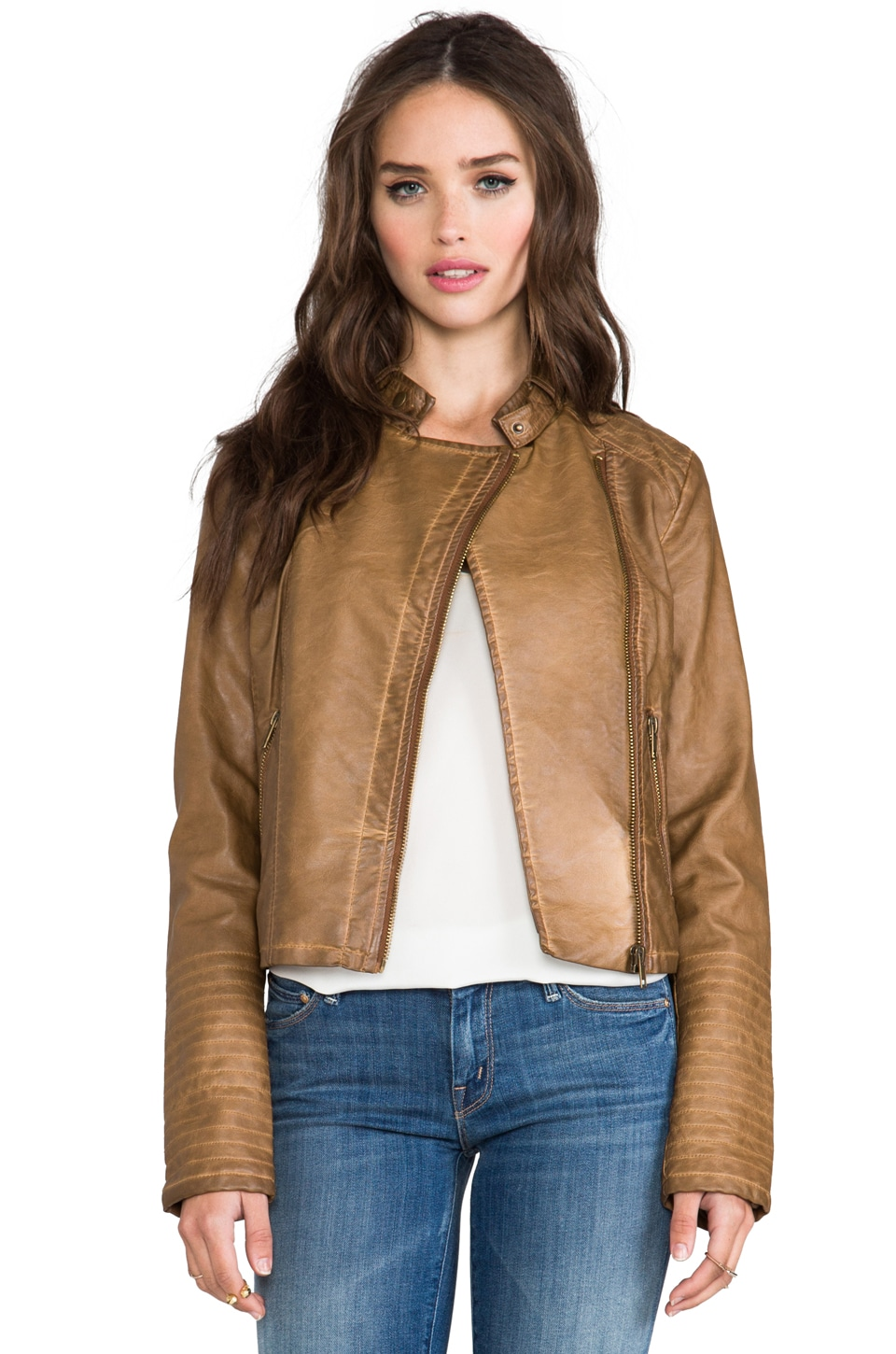 BB Dakota Stanley Garment Dye Faux Leather Moto Jacket in Light Brown