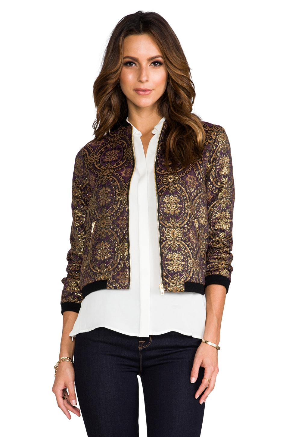 BB Dakota Joss Vintage Brocade Bomber Jacket in Regal Purple