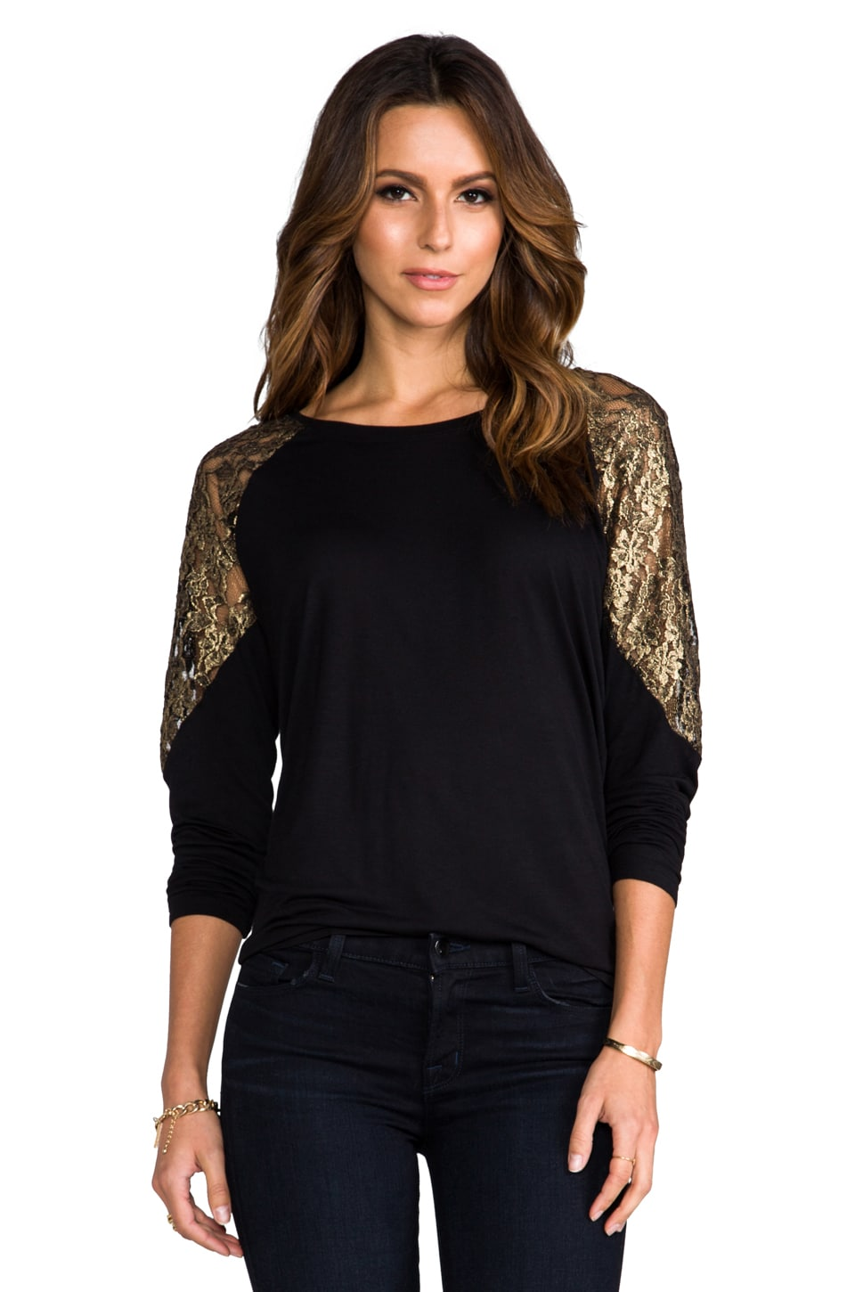 BB Dakota Corey Pullover w/ Metallic Lace in Black