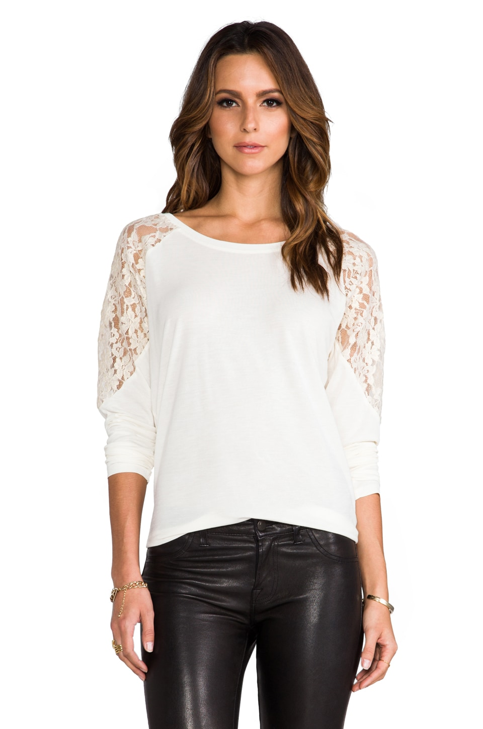 BB Dakota Corey Pullover w/ Metallic Lace in Ivory
