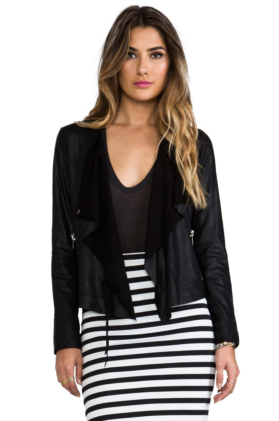 BB Dakota Lux lamb Leather Moto Jacket in Black