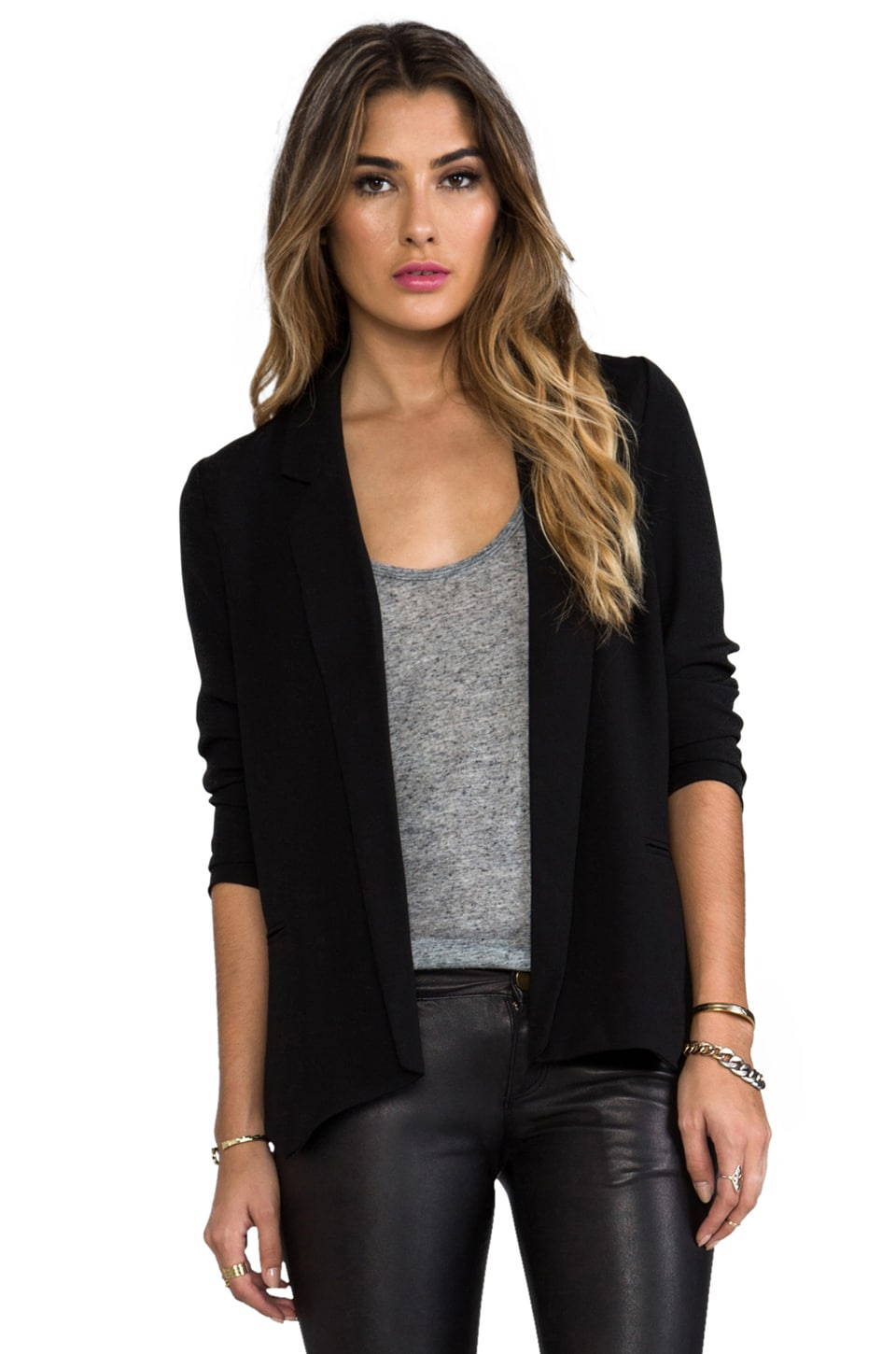 BB Dakota Arienette Satin Blazer in Black