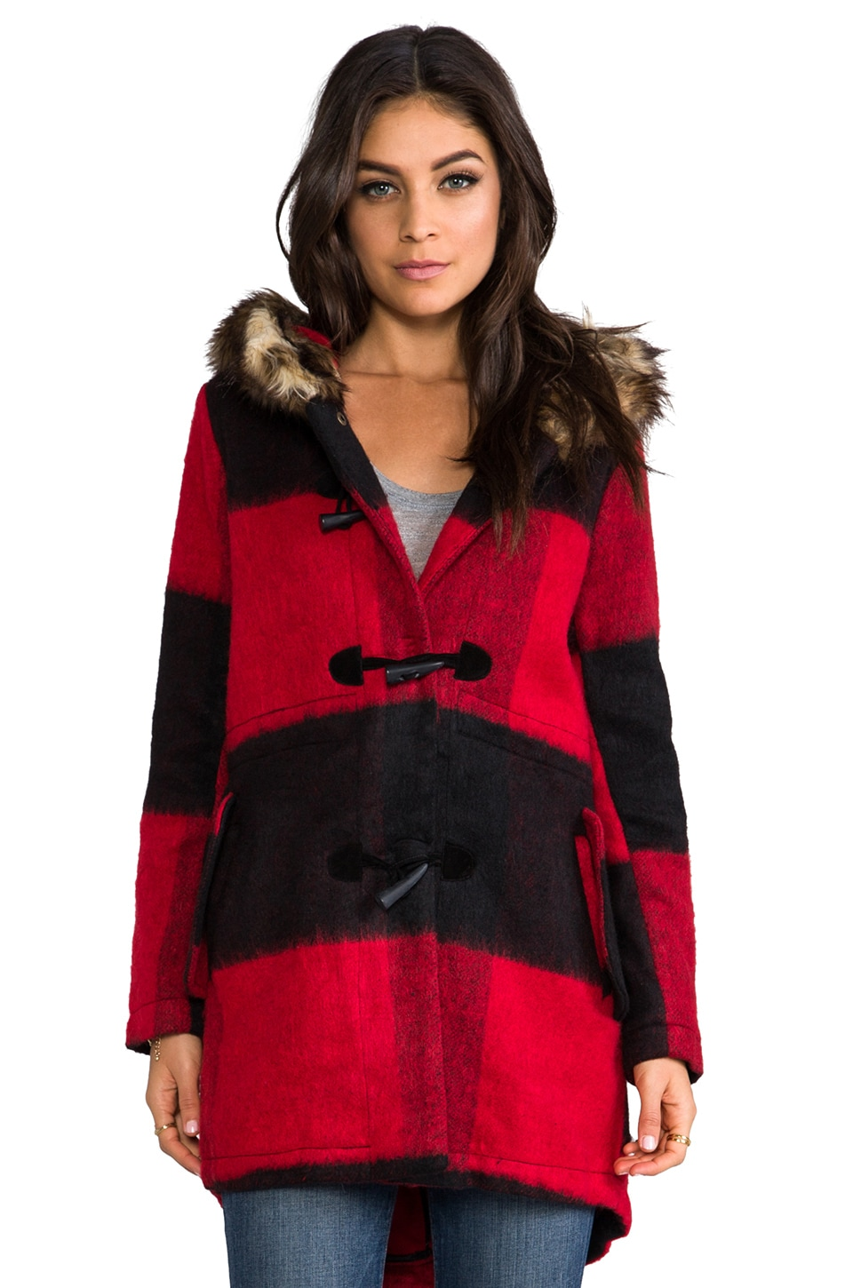 BB Dakota Iris Buffalo Plaid Long Coat with Faux Fur Trim in Black