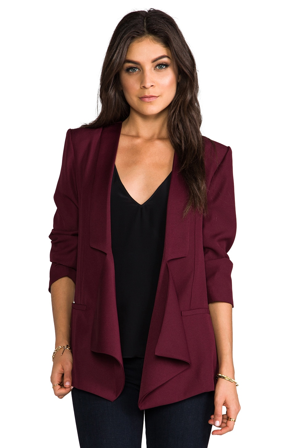 BB Dakota Dustin Satin Blazer in Malbec