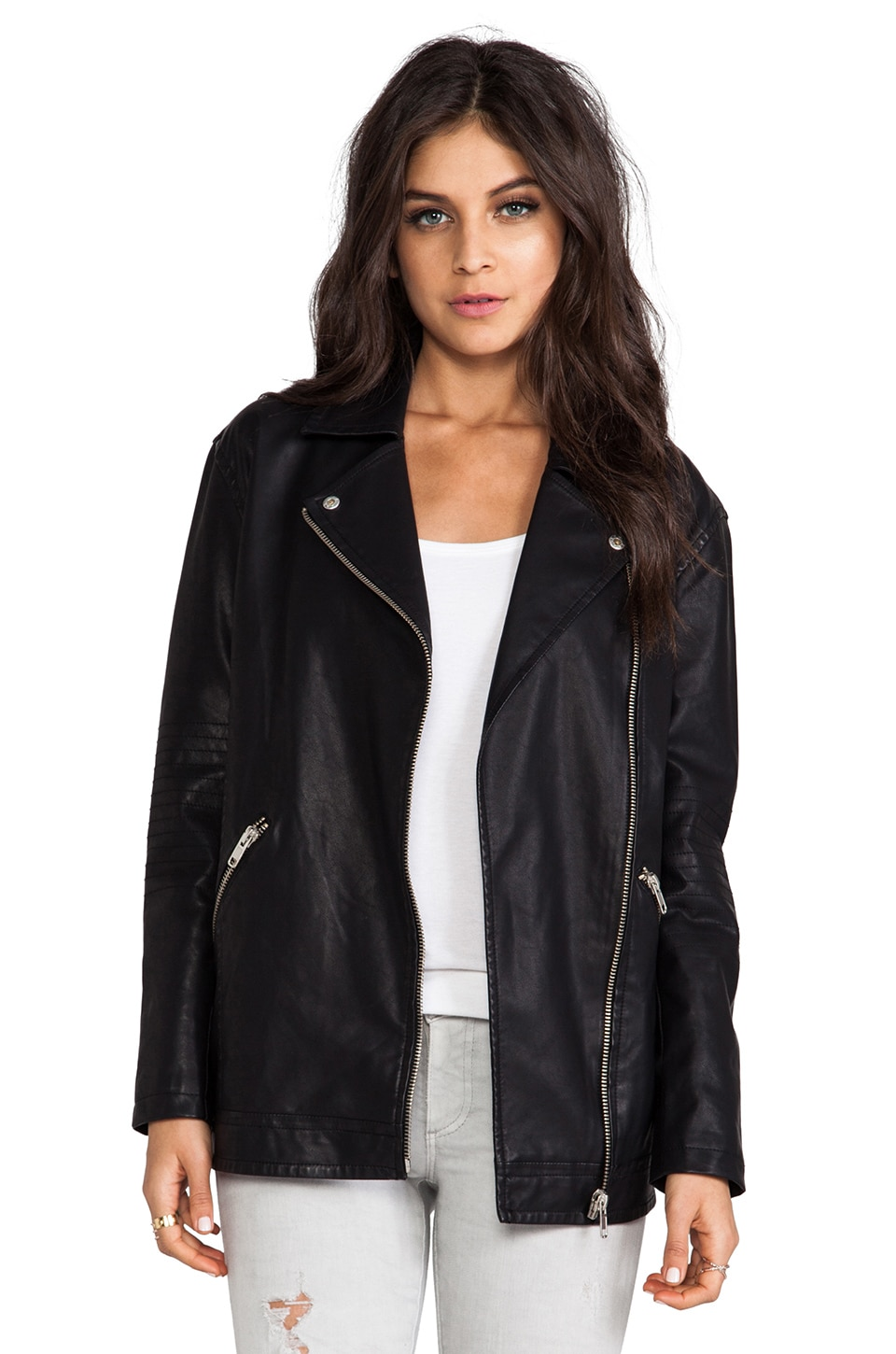 BB Dakota Atleg Vegan Leather Moto Jacket in Black