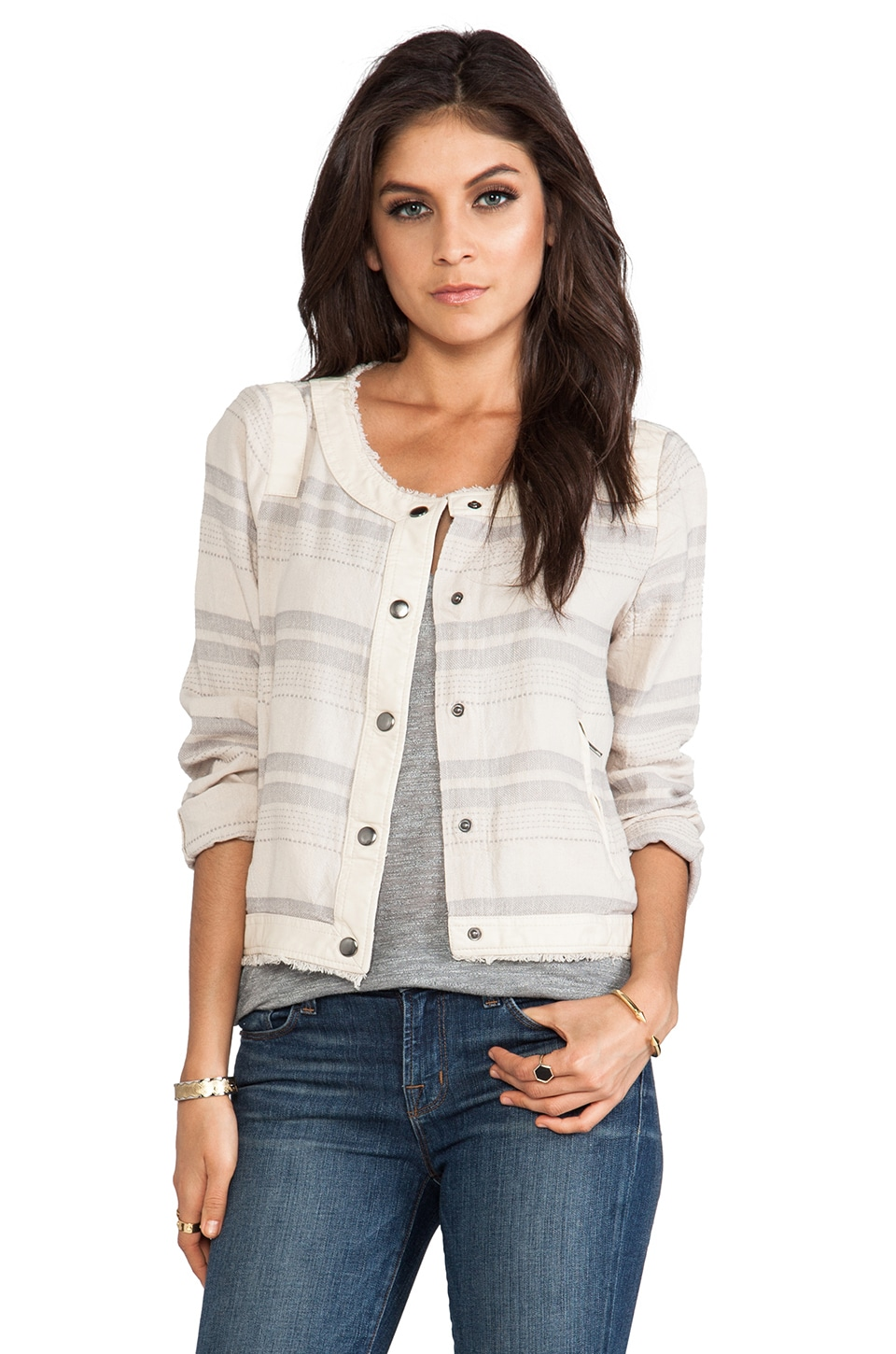 BB Dakota Catorie Striped Jacket in White Cap