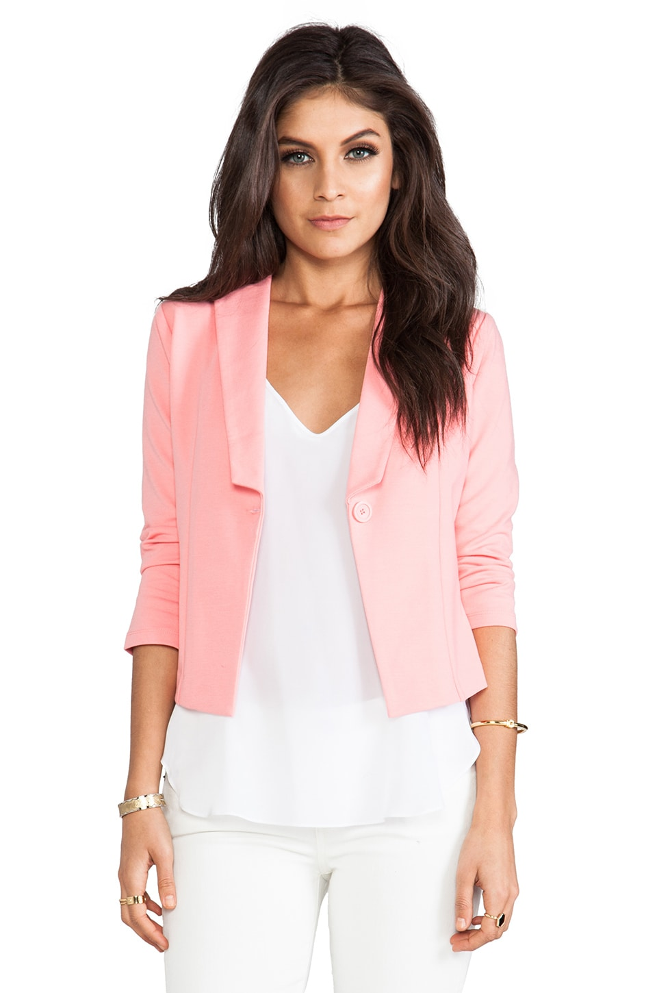 BB Dakota Kreeli Ponte Blazer in Salmon Rose