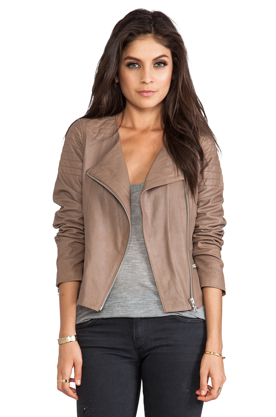 BB Dakota Dolorosa Lamb Leather Jacket in Tan