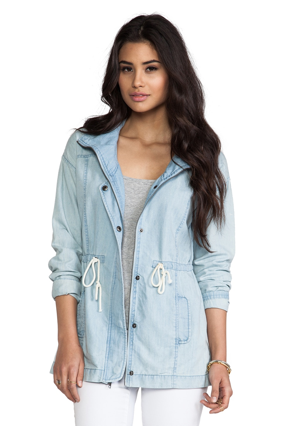 BB Dakota Bregan Chambray Jacket in Light Blue