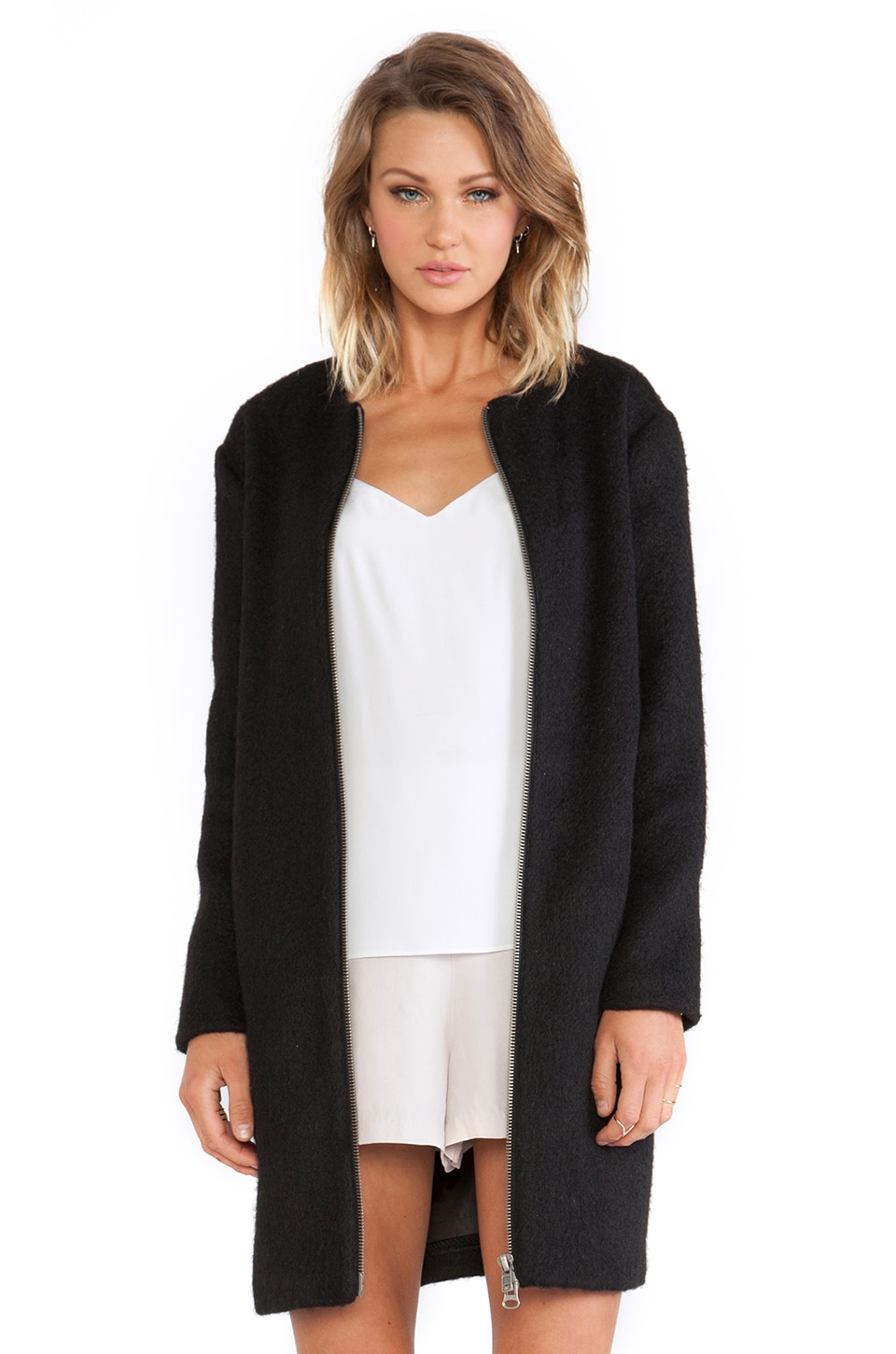 BB Dakota Liezel Wool Zip Up Coat in Black