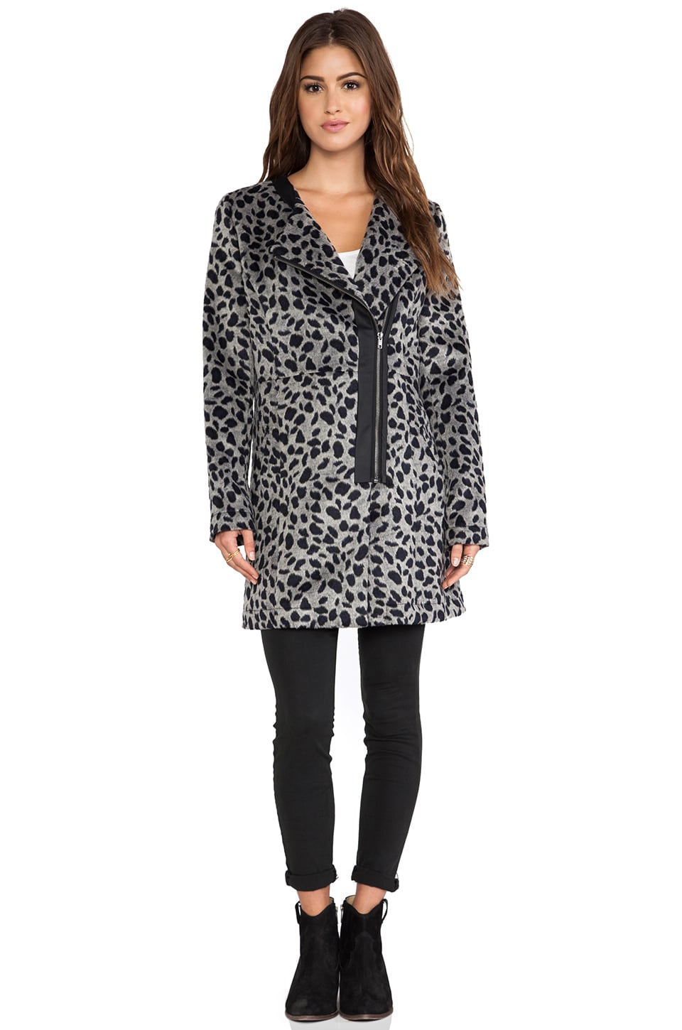 BB Dakota Elden Leopard Faux Fur Jacket in Black
