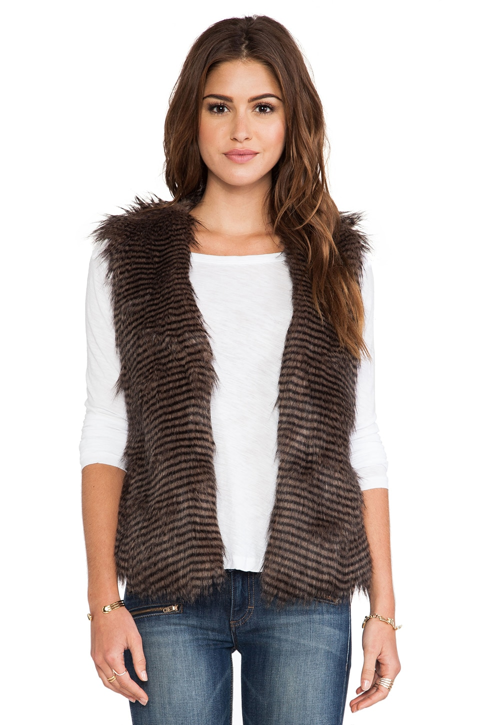 BB Dakota Duda Faux Fur Vest in Brown Multi