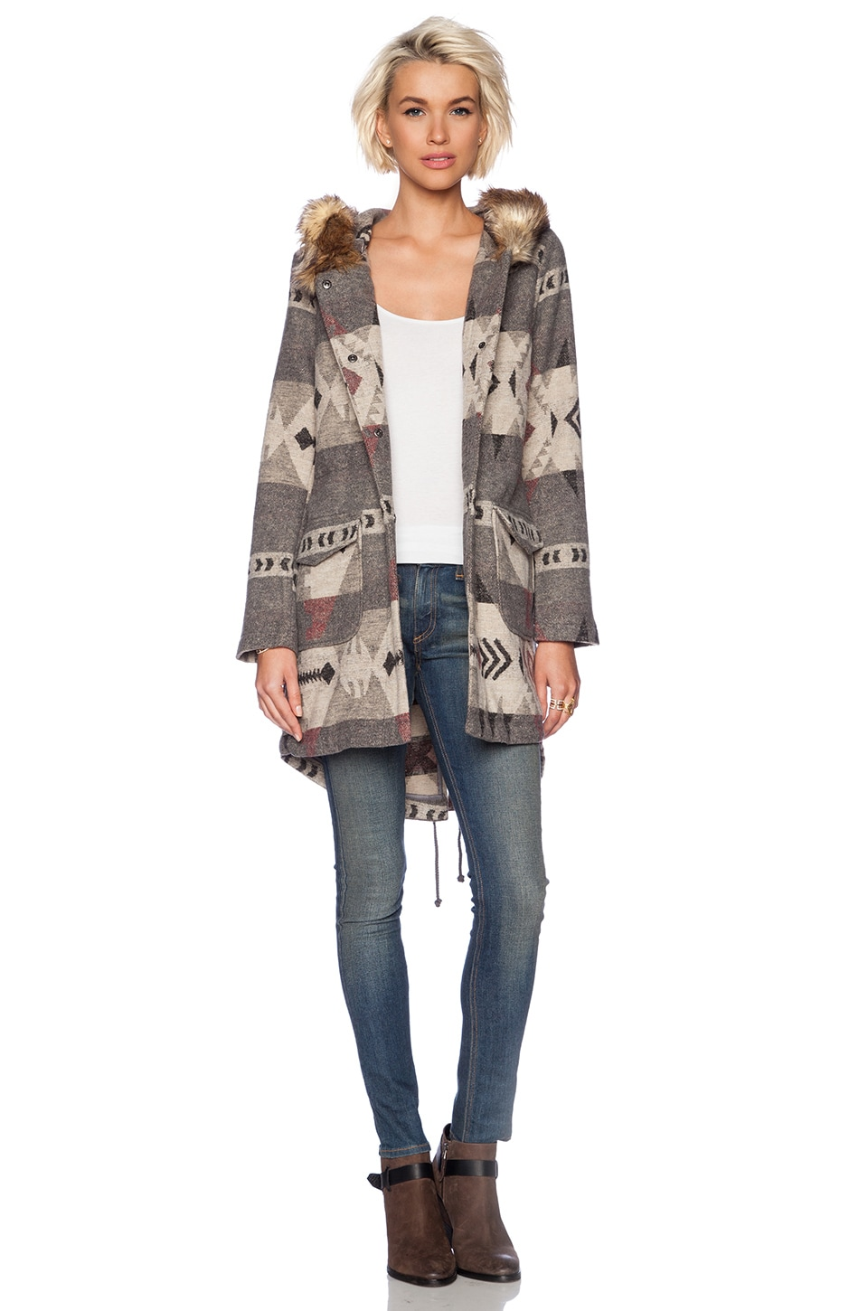 BB Dakota Negeen Patterned Coat with Fuax Fur Trim in Grey