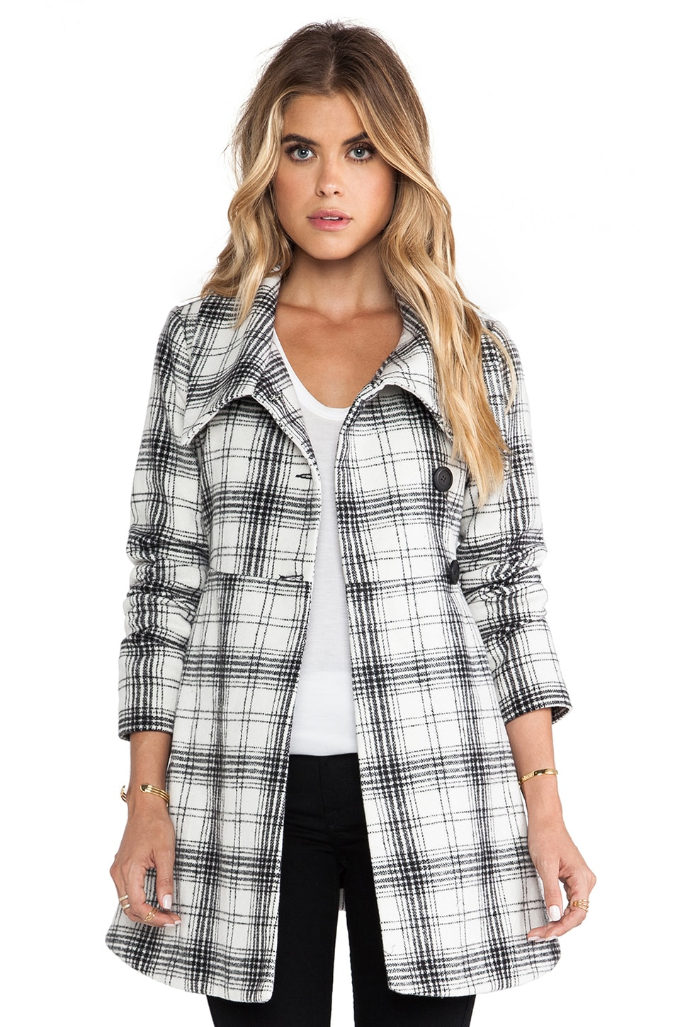 BB Dakota Kinsey Plaid Coat in Black White