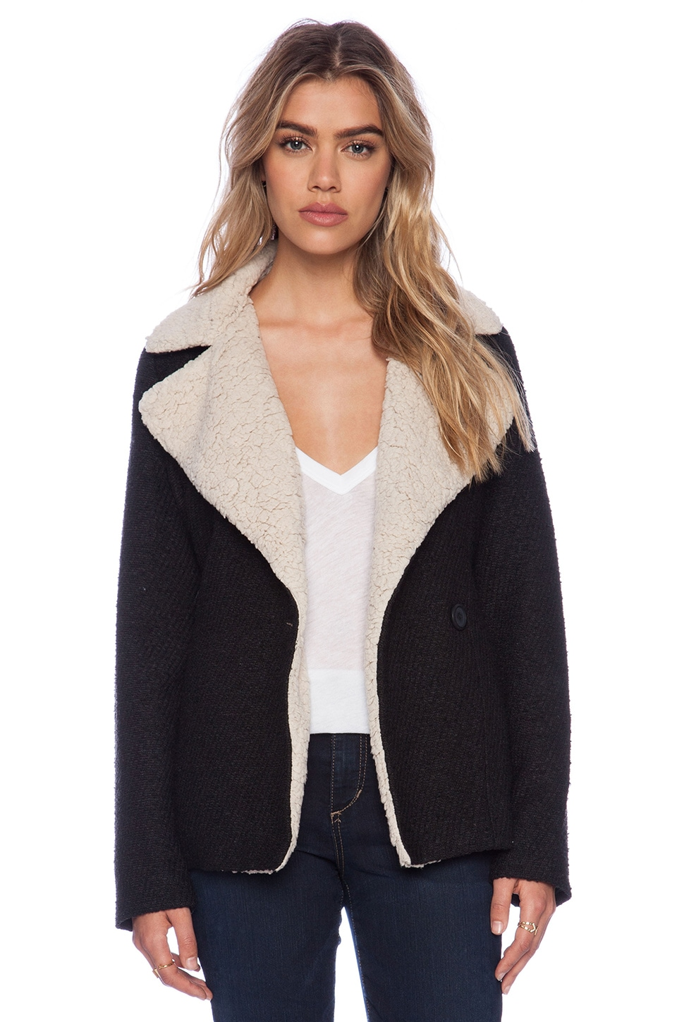 BB Dakota Smith Jacket with Faux Fur Lining in Black
