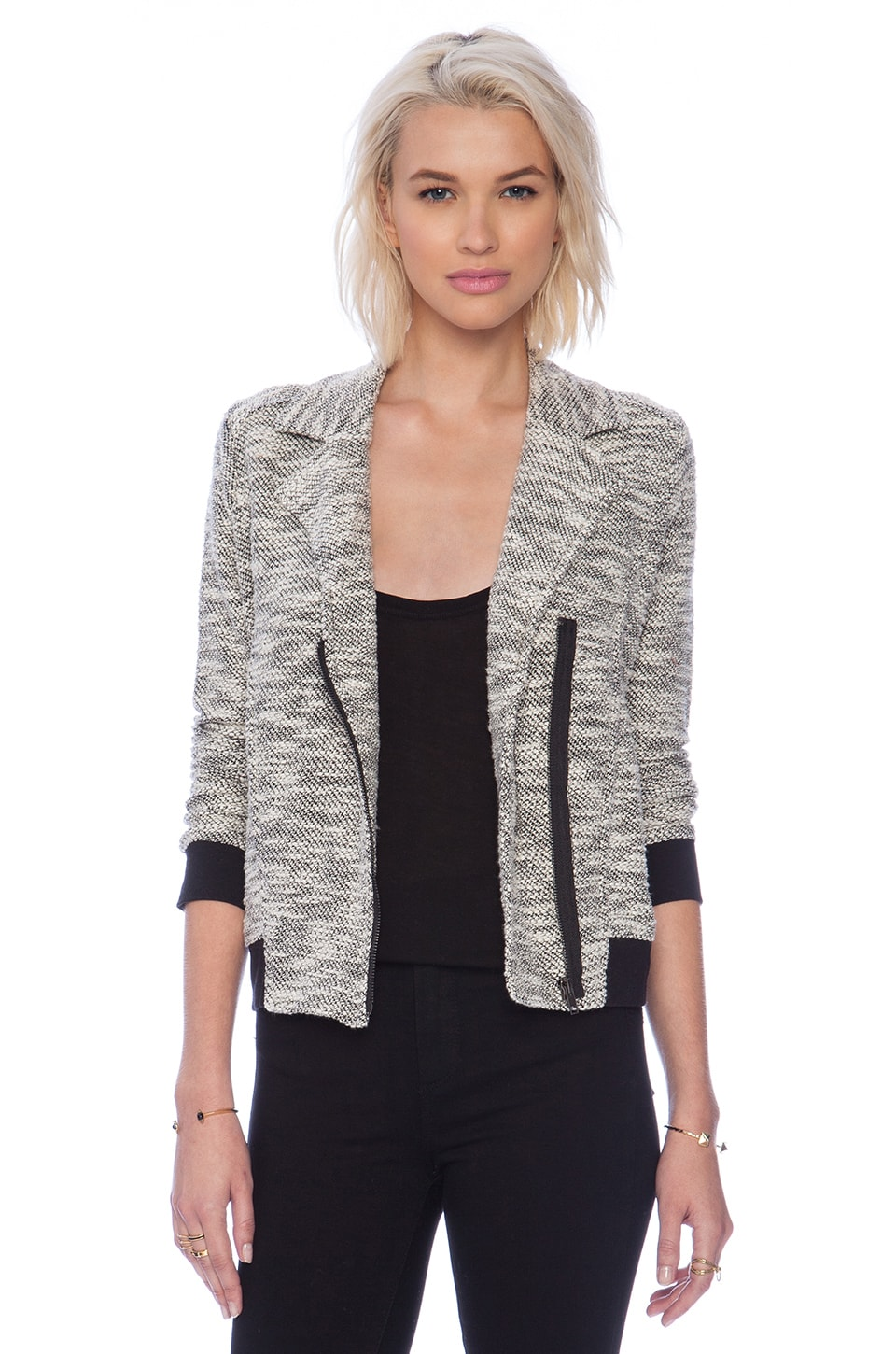 BB Dakota Chaney Knit Moto Jacket in Black & Oatmeal