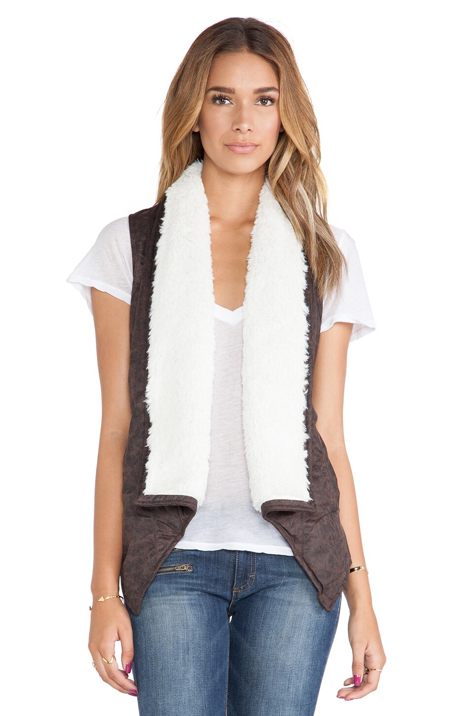 BB Dakota Decker Vest with Faux Fur Trim  in Espresso