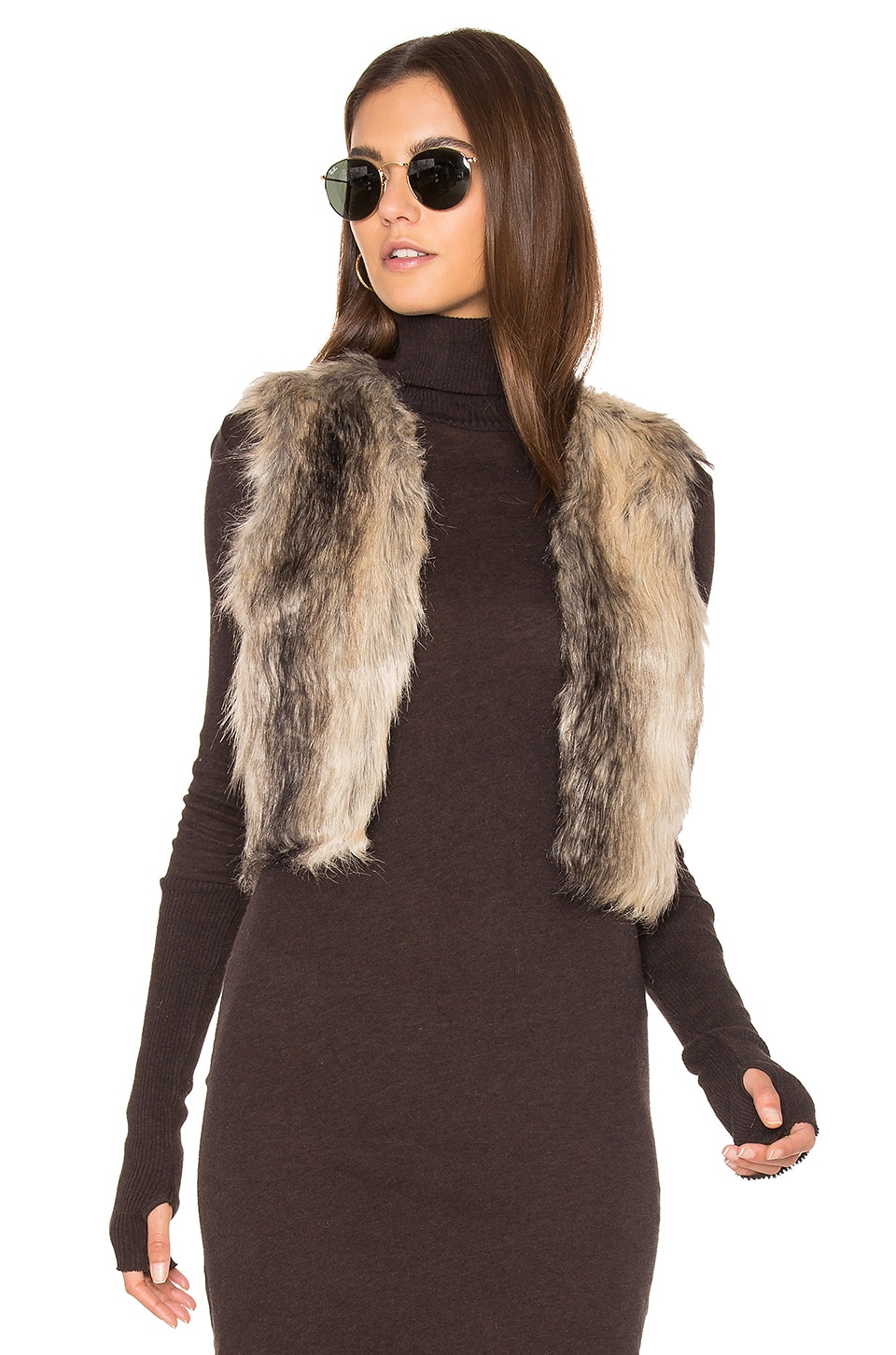 BB Dakota Jack By BB Dakota Loree Faux Fur Vest in Multi