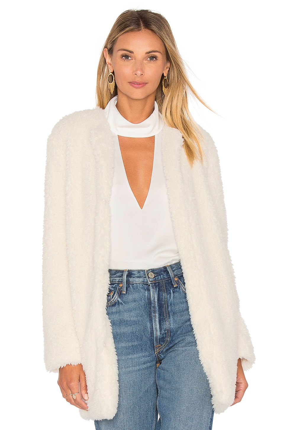 BB Dakota Merrill Faux Fur Jacket in Ivory