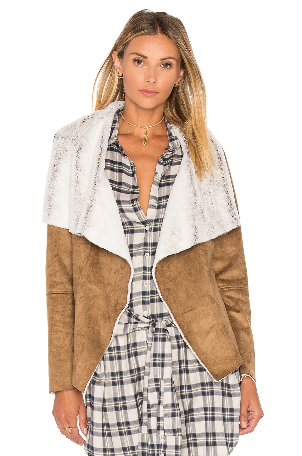 BB Dakota Bourne Jacket with Faux Fur Lining in Camel