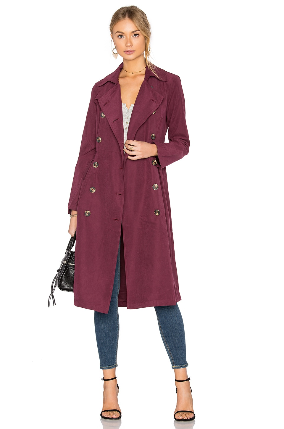 BB Dakota Jack By BB Dakota Wellington Coat in Dark Plum