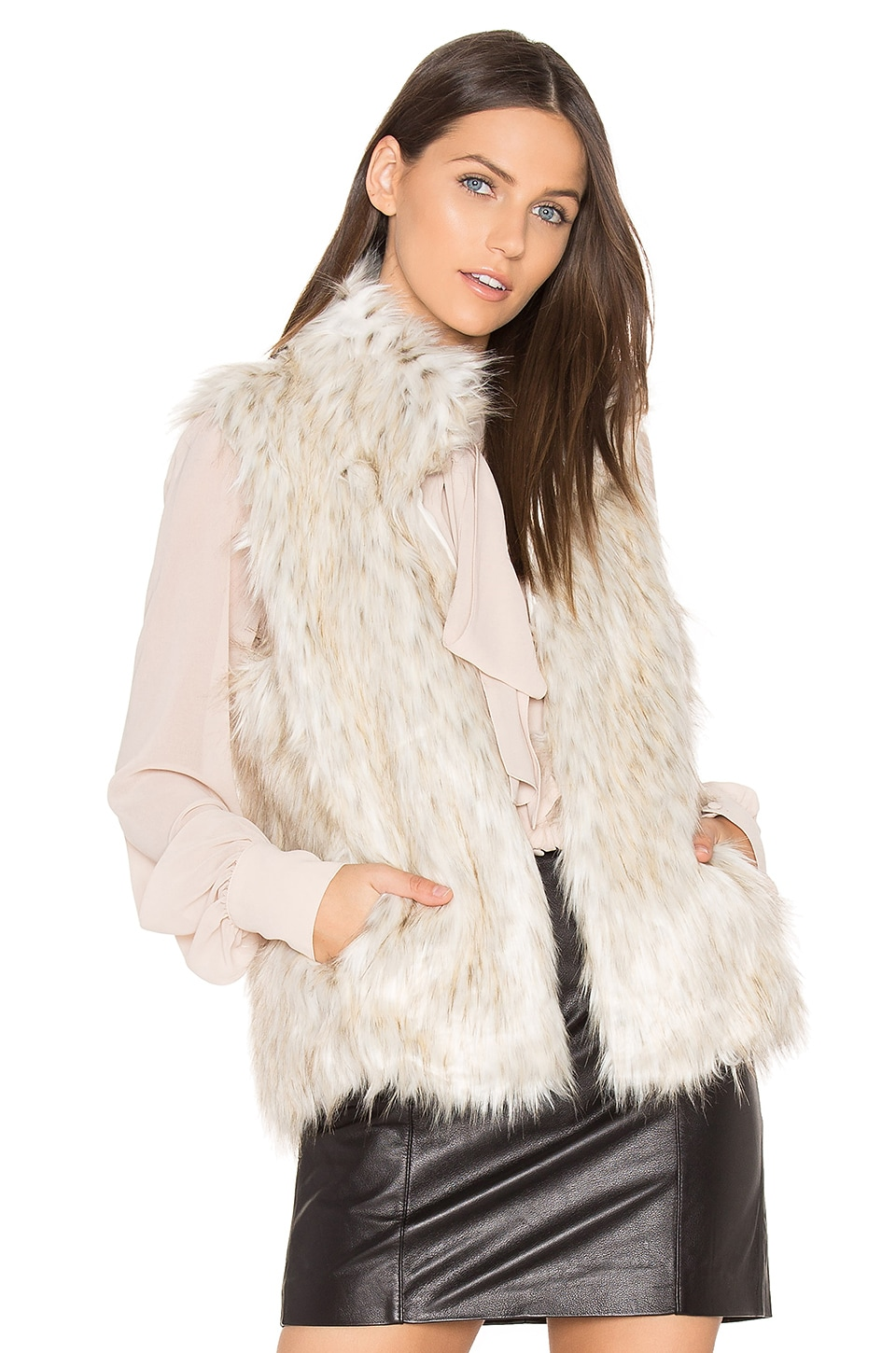 BB Dakota Brewer Faux Fur Vest in Dirty White