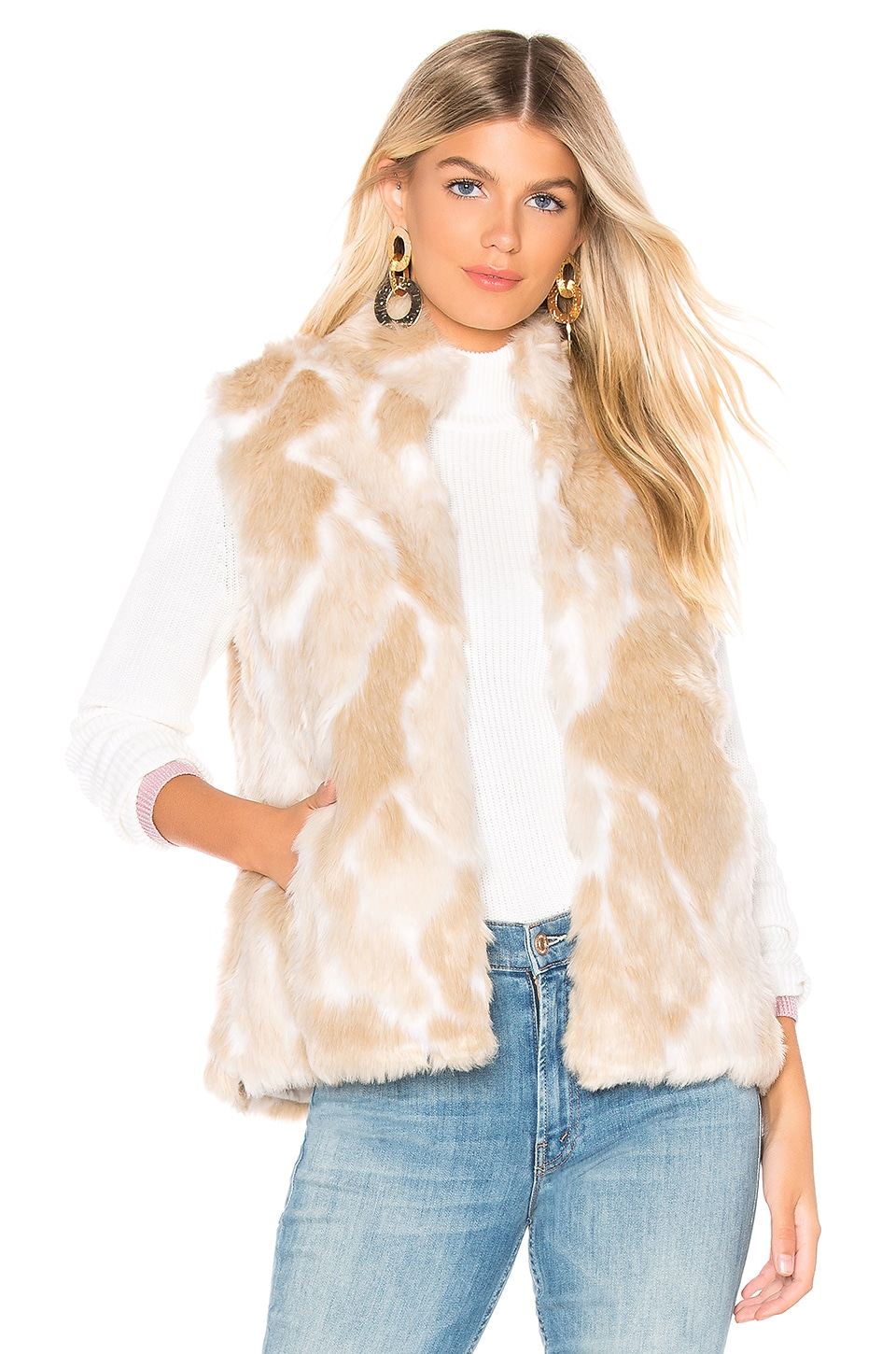 Bb Dakota BB DAKOTA JACK BY BB DAKOTA FAUX FUR WHAT VEST IN IVORY.