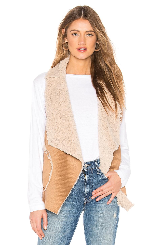 BB Dakota Easily Suede Faux Fur Vest in Whiskey