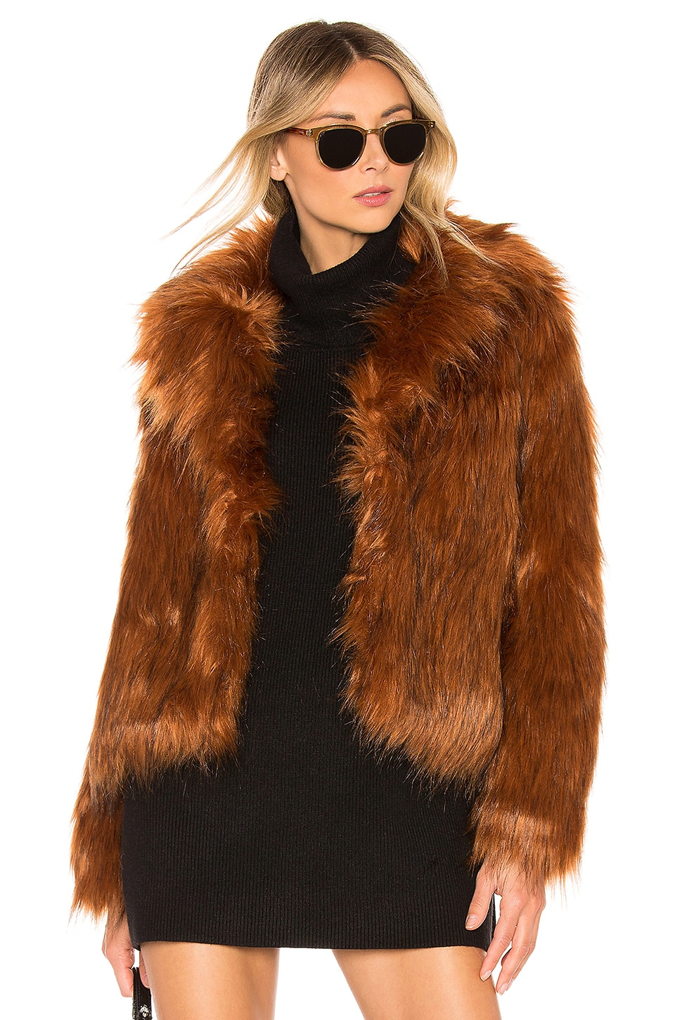 BB Dakota Penny Lane Faux Fur Jacket in Cognac