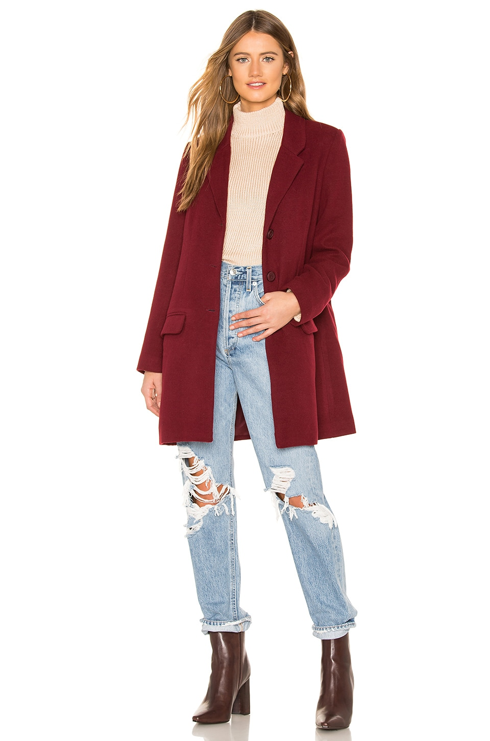 BB Dakota Whiskey Business Coat in Bordeaux