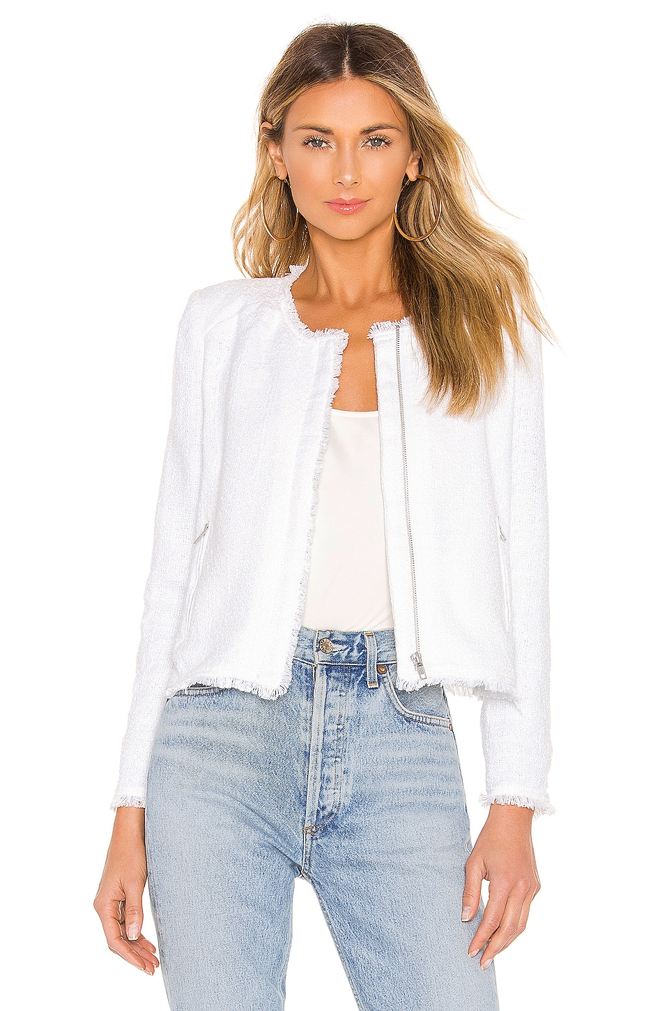 BB Dakota Tweed To Know Jacket in Optic White