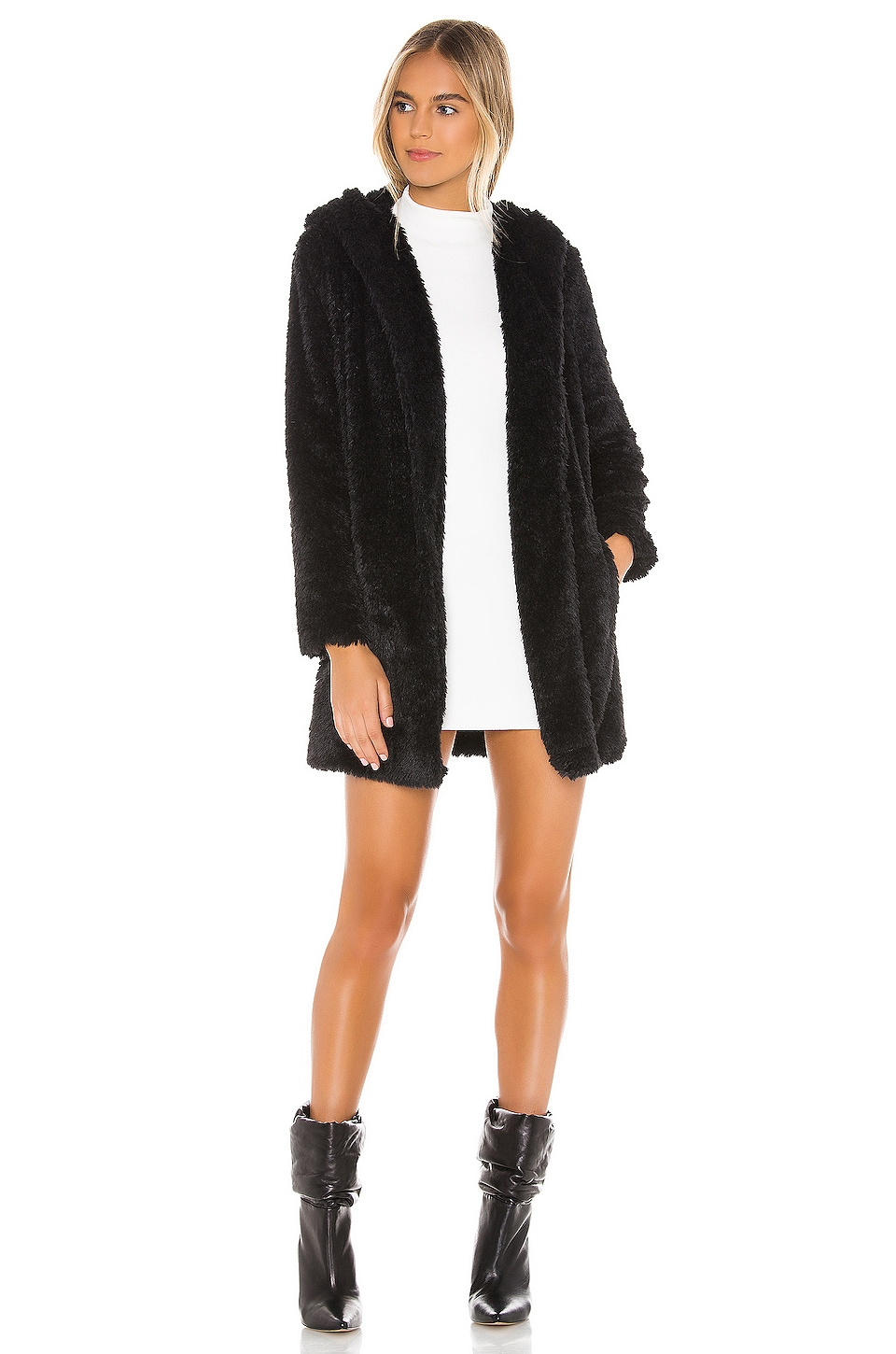 BB Dakota JACK by BB Dakota Its Shawl Good Faux Fur Jacket in Black